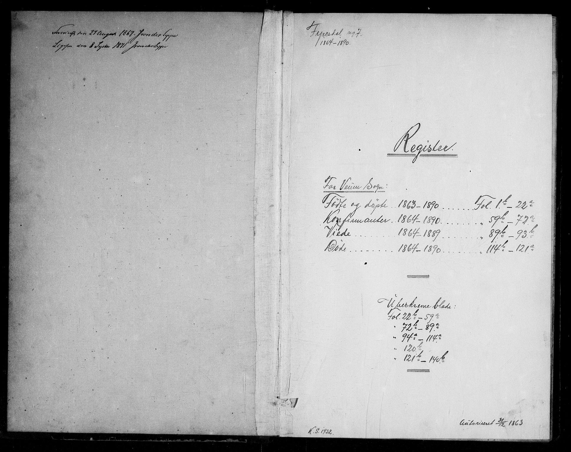 SAKO, Fyresdal kirkebøker, G/Gb/L0001: Klokkerbok nr. II 1, 1864-1890