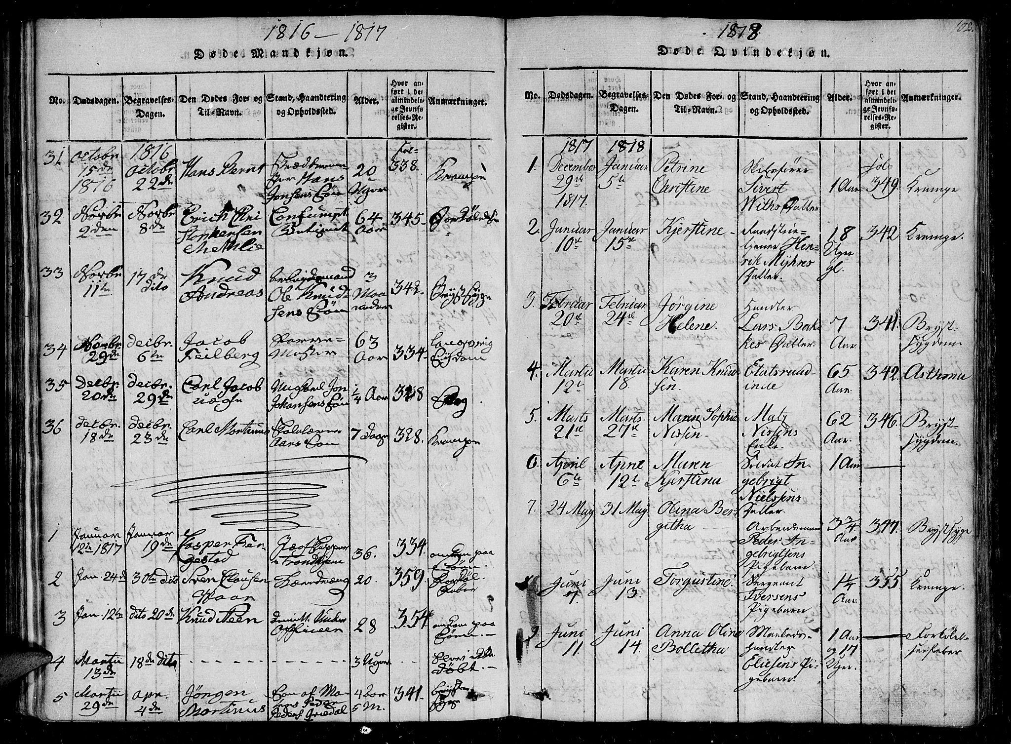 SAT, Ministerialprotokoller, klokkerbøker og fødselsregistre - Sør-Trøndelag, 602/L0107: Ministerialbok nr. 602A05, 1815-1821, s. 102