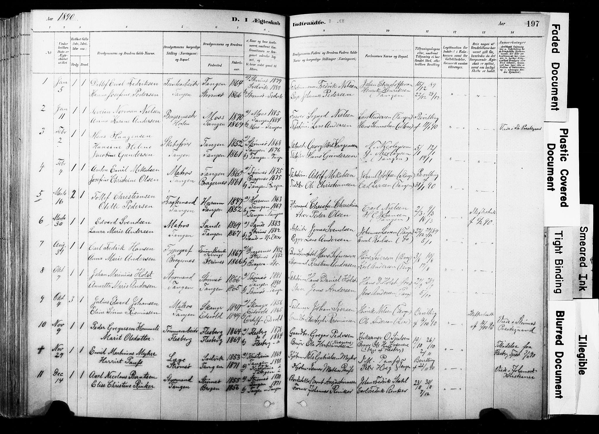 SAKO, Strømsø kirkebøker, F/Fb/L0006: Ministerialbok nr. II 6, 1879-1910, s. 197