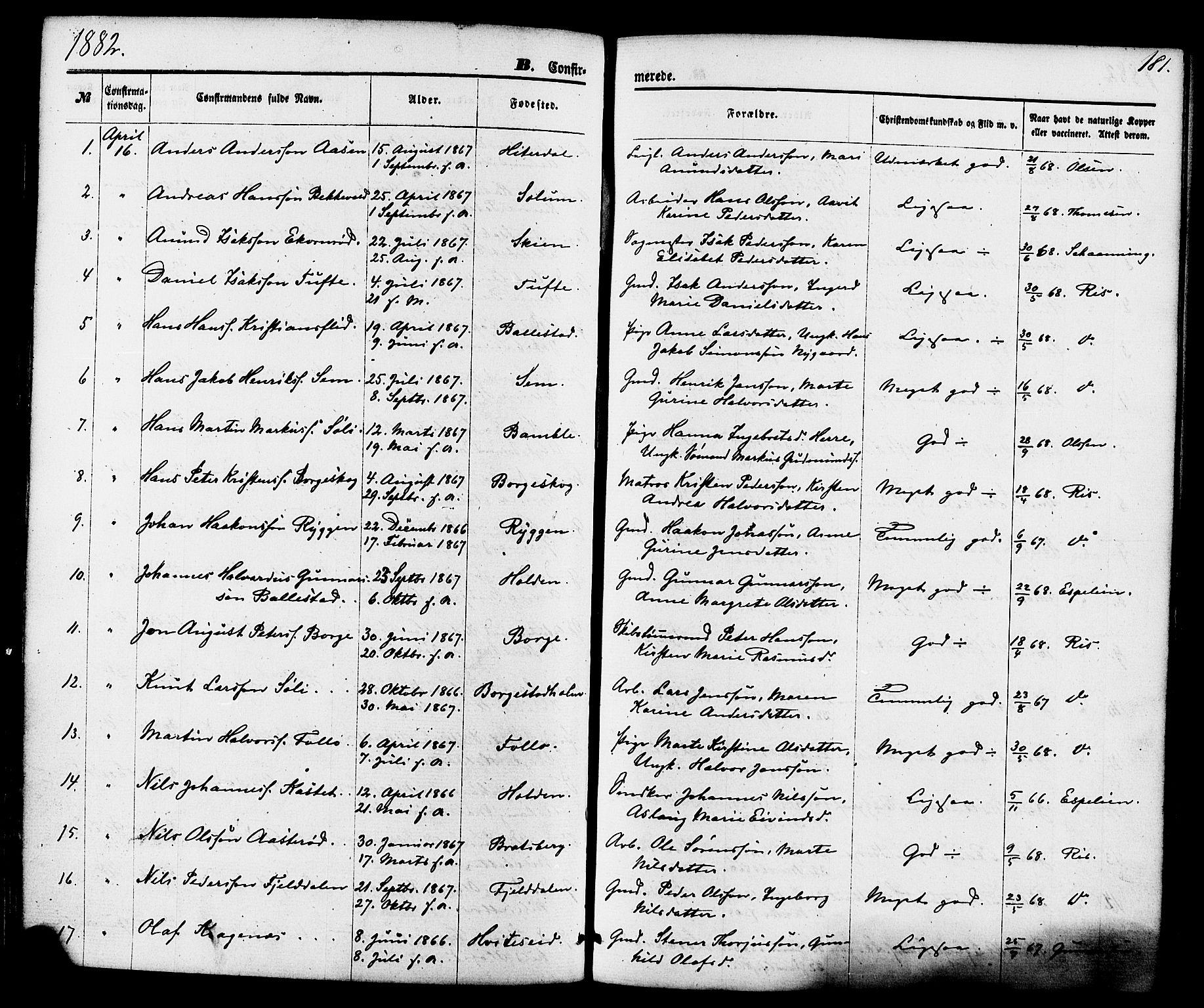 SAKO, Gjerpen kirkebøker, F/Fa/L0009: Ministerialbok nr. 9, 1872-1885, s. 181