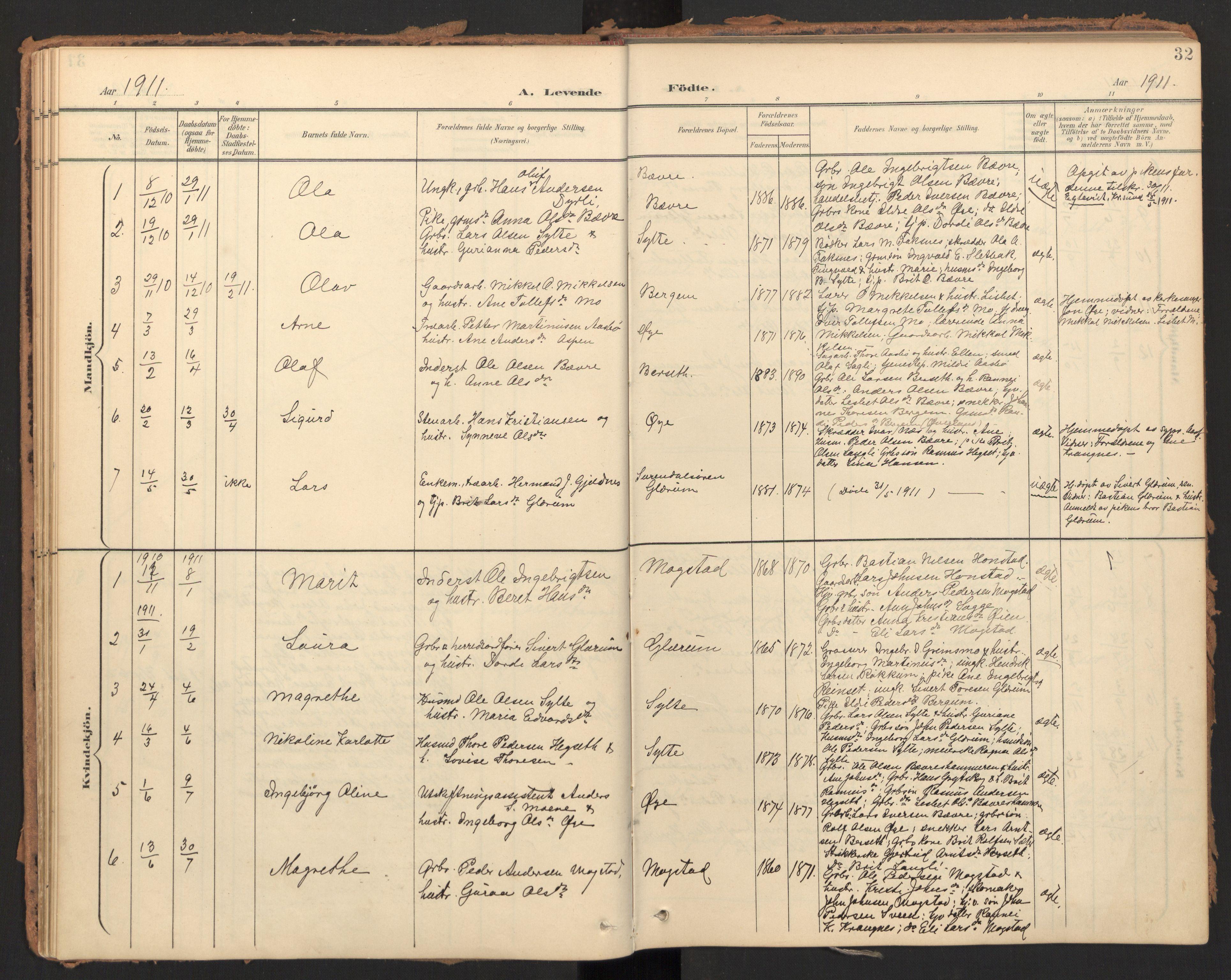 SAT, Ministerialprotokoller, klokkerbøker og fødselsregistre - Møre og Romsdal, 595/L1048: Ministerialbok nr. 595A10, 1900-1917, s. 32