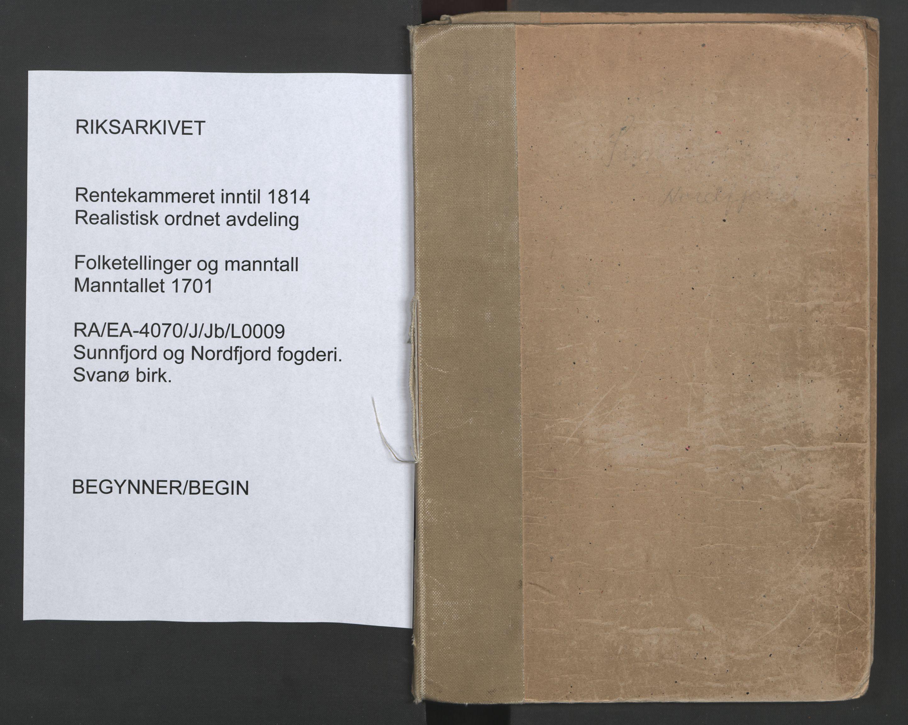 RA, Manntallet 1701, nr. 9: Sunnfjord fogderi, Nordfjord fogderi og Svanø birk, 1701, s. upaginert