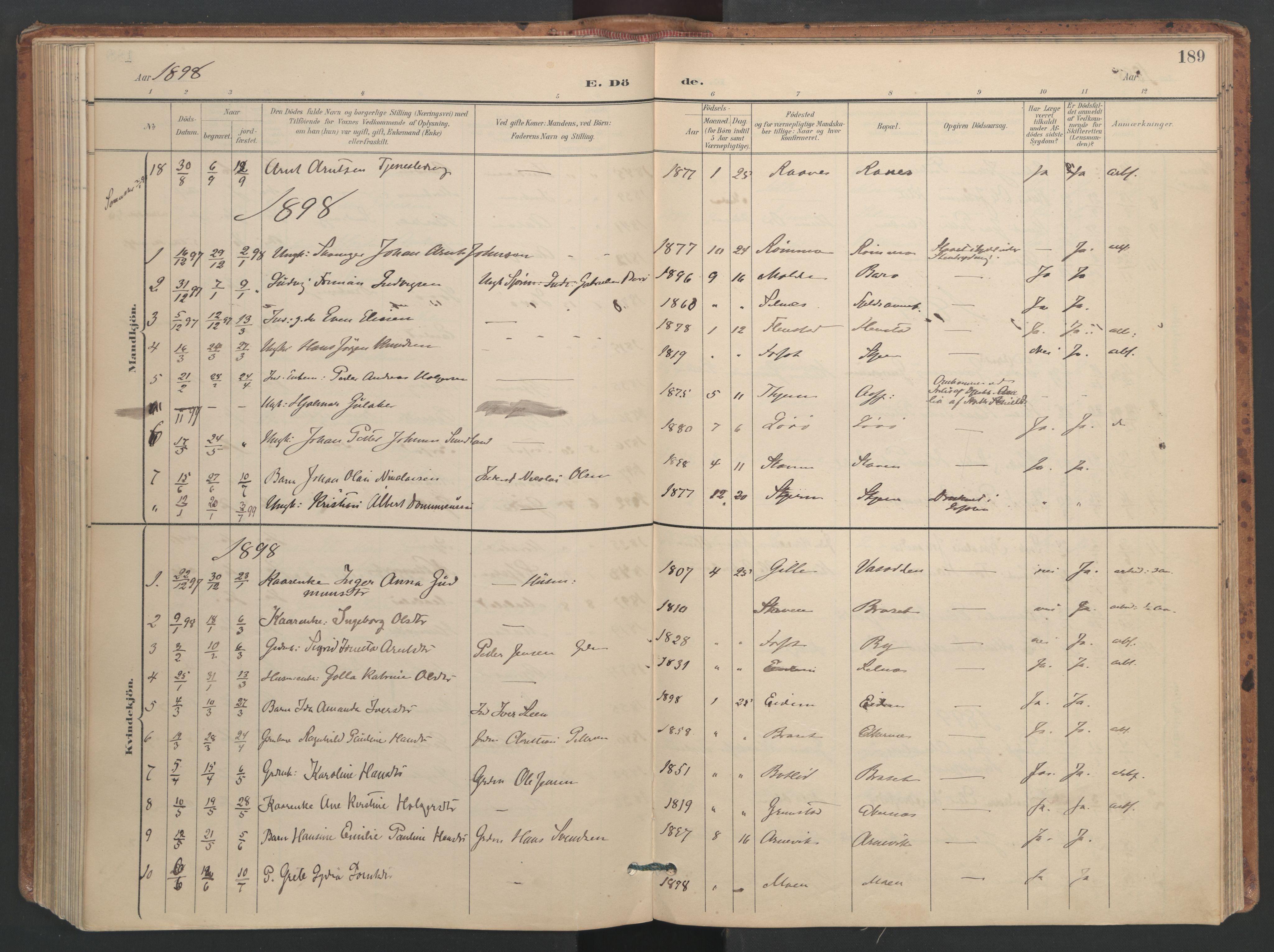 SAT, Ministerialprotokoller, klokkerbøker og fødselsregistre - Sør-Trøndelag, 655/L0681: Ministerialbok nr. 655A10, 1895-1907, s. 189