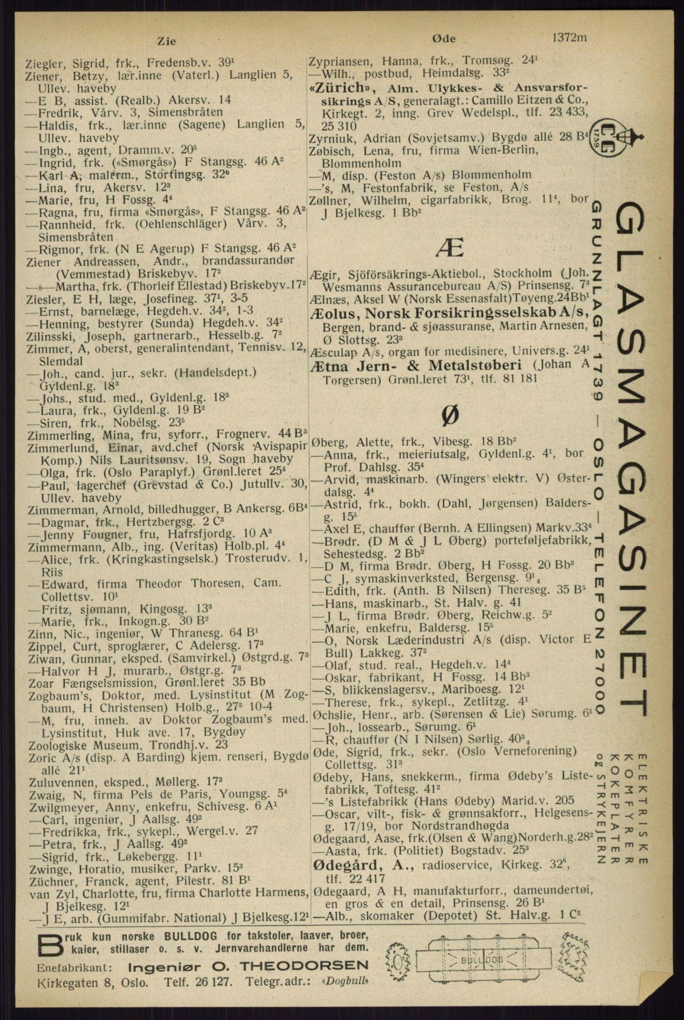 PUBL, Kristiania/Oslo adressebok, 1933