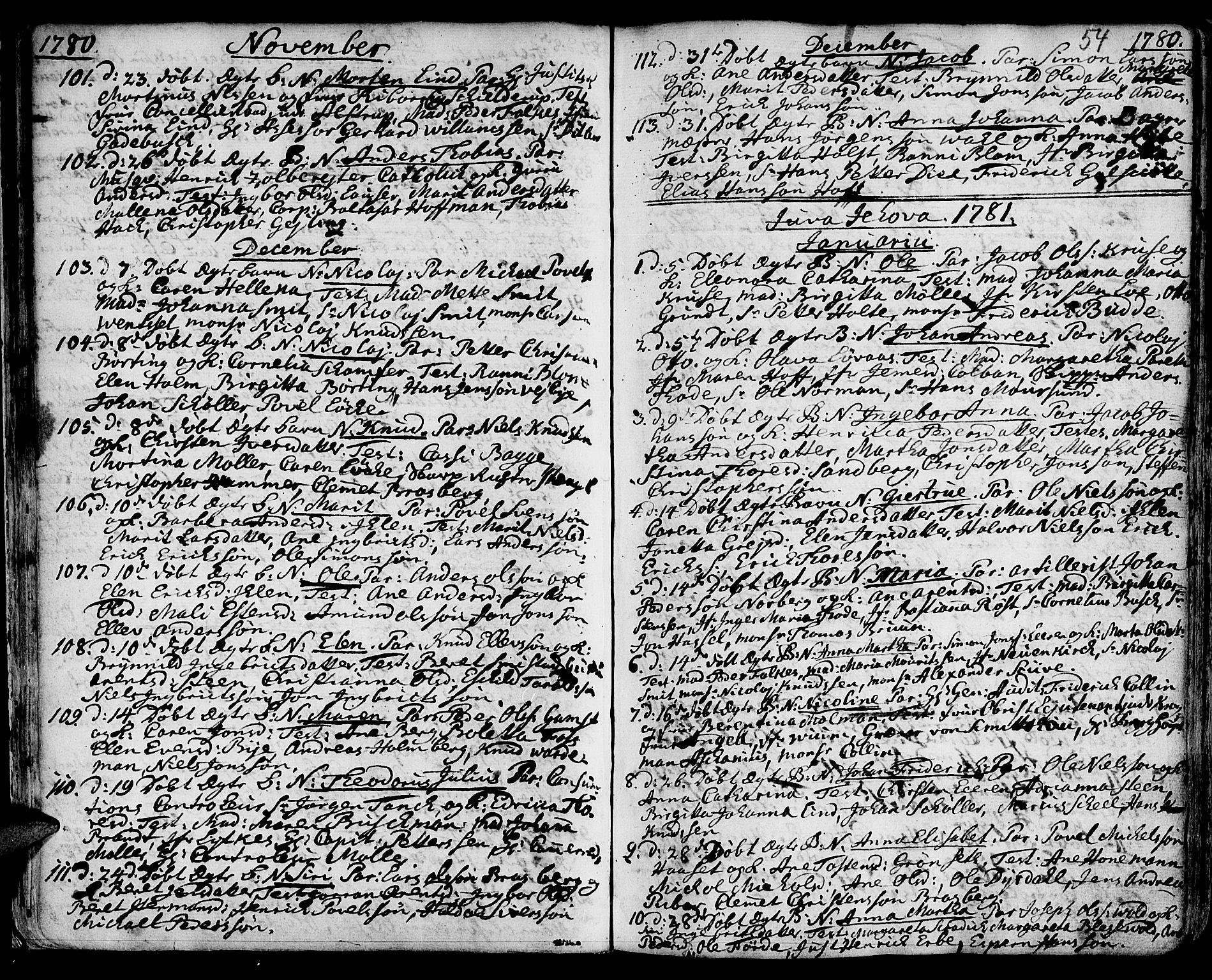 SAT, Ministerialprotokoller, klokkerbøker og fødselsregistre - Sør-Trøndelag, 601/L0039: Ministerialbok nr. 601A07, 1770-1819, s. 54