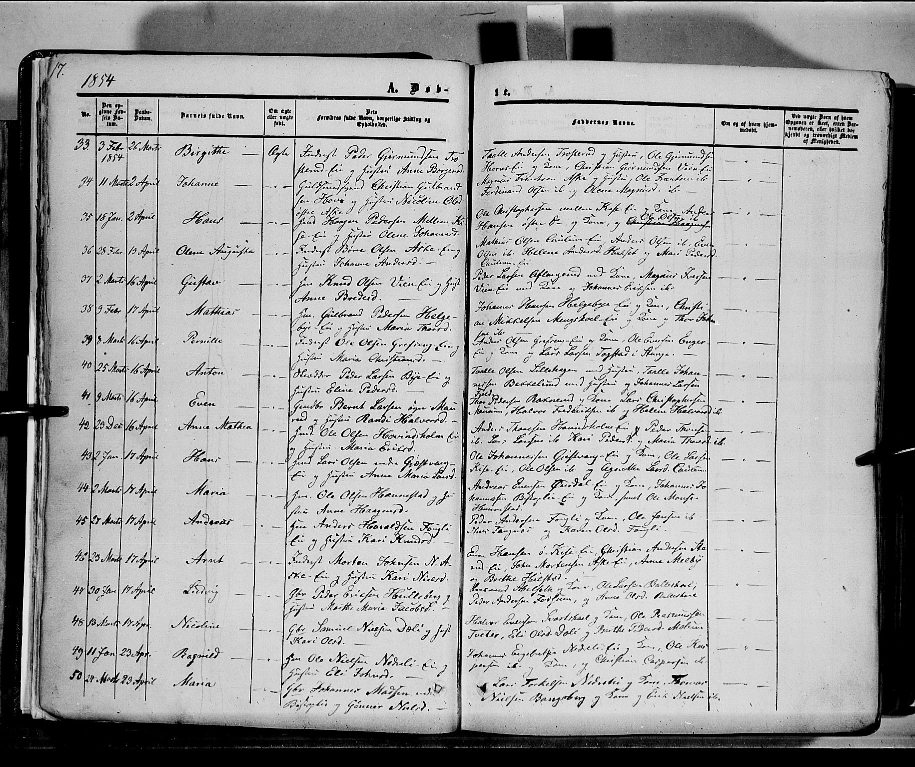 SAH, Nes prestekontor, K/Ka/L0004: Ministerialbok nr. 4, 1852-1886, s. 17