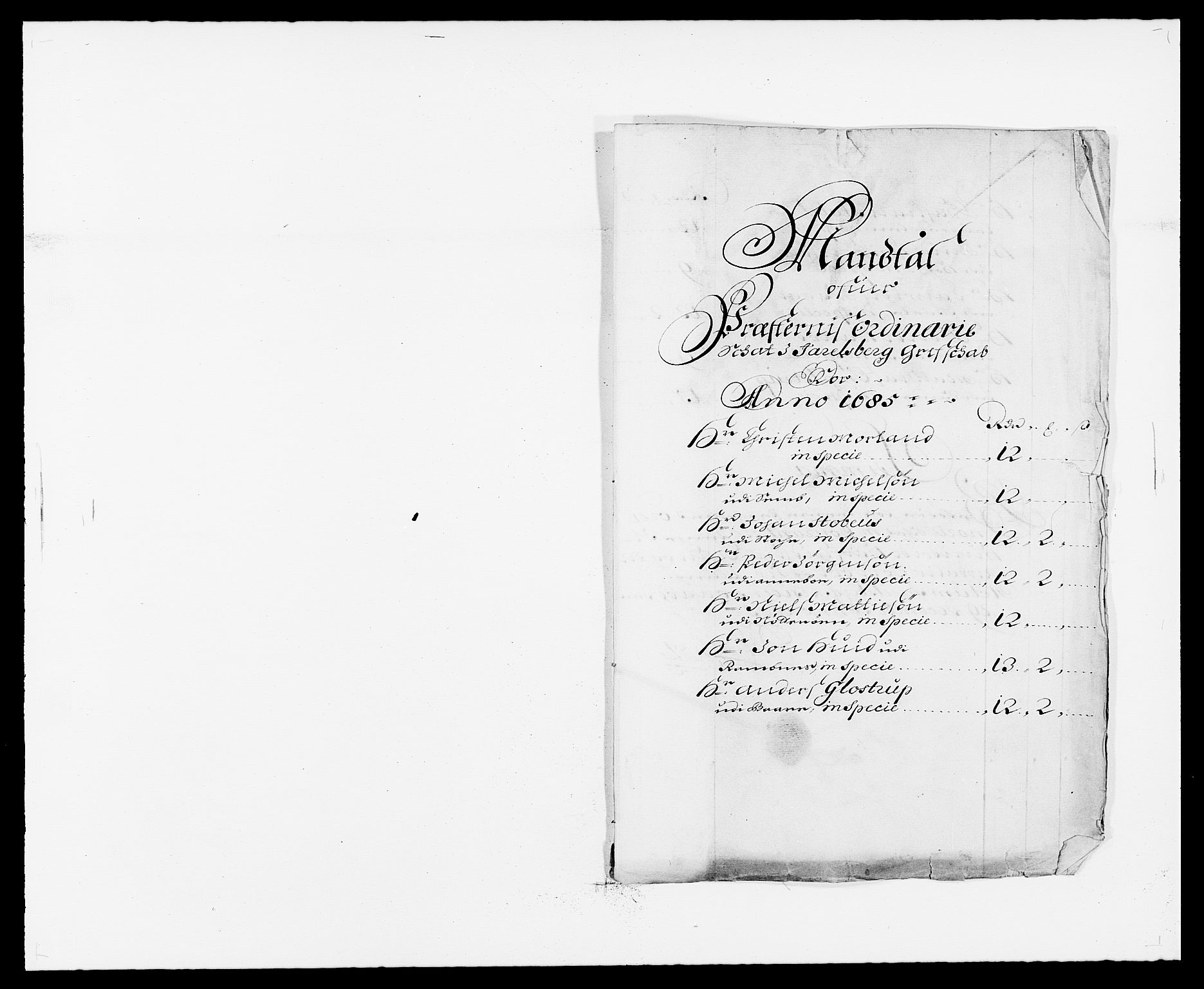 RA, Rentekammeret inntil 1814, Reviderte regnskaper, Fogderegnskap, R32/L1856: Fogderegnskap Jarlsberg grevskap, 1685, s. 355
