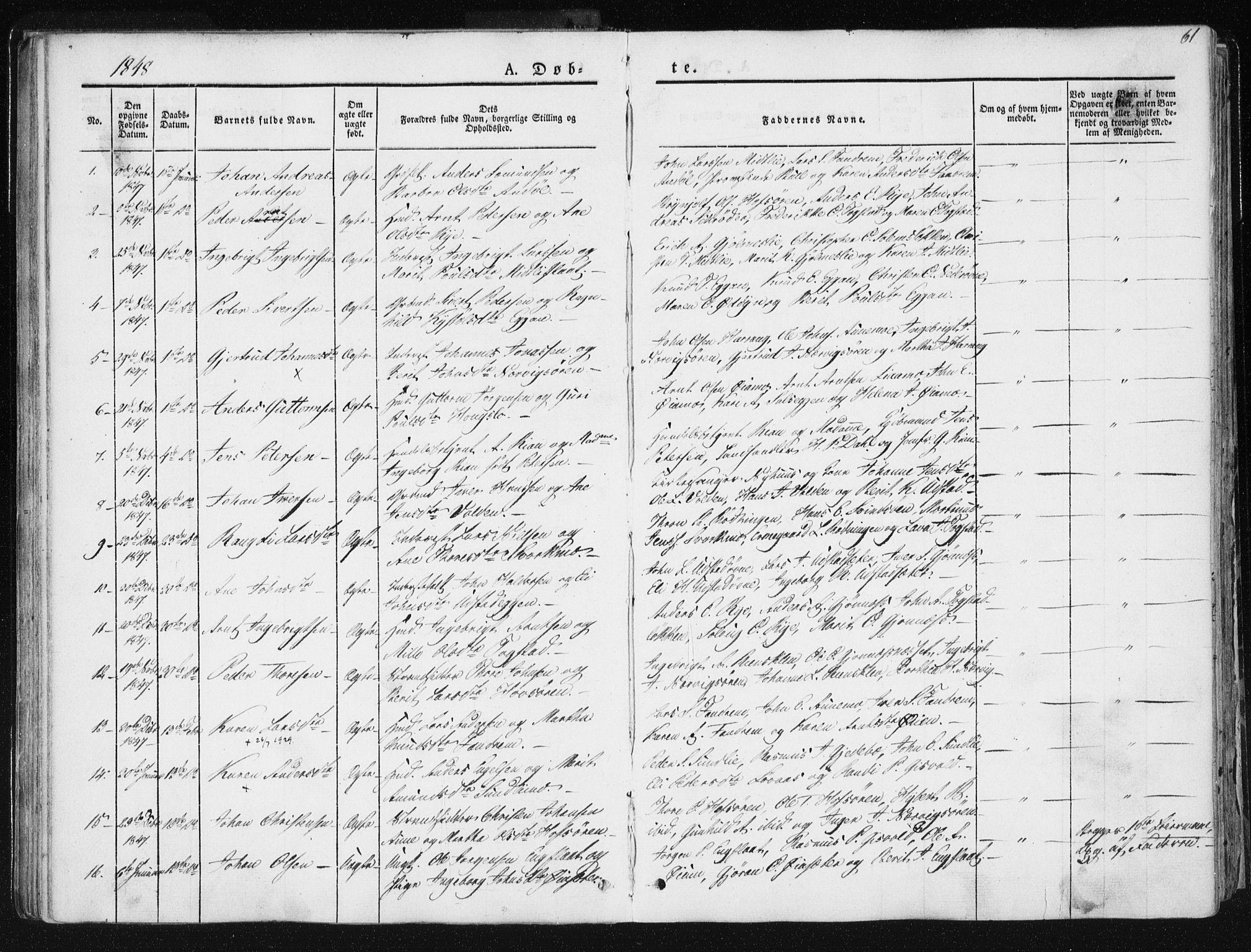 SAT, Ministerialprotokoller, klokkerbøker og fødselsregistre - Sør-Trøndelag, 668/L0805: Ministerialbok nr. 668A05, 1840-1853, s. 61