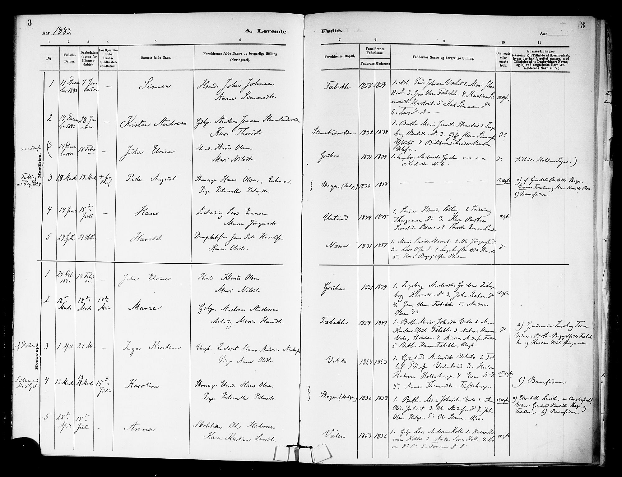 SAKO, Holla kirkebøker, F/Fa/L0009: Ministerialbok nr. 9, 1881-1897, s. 3