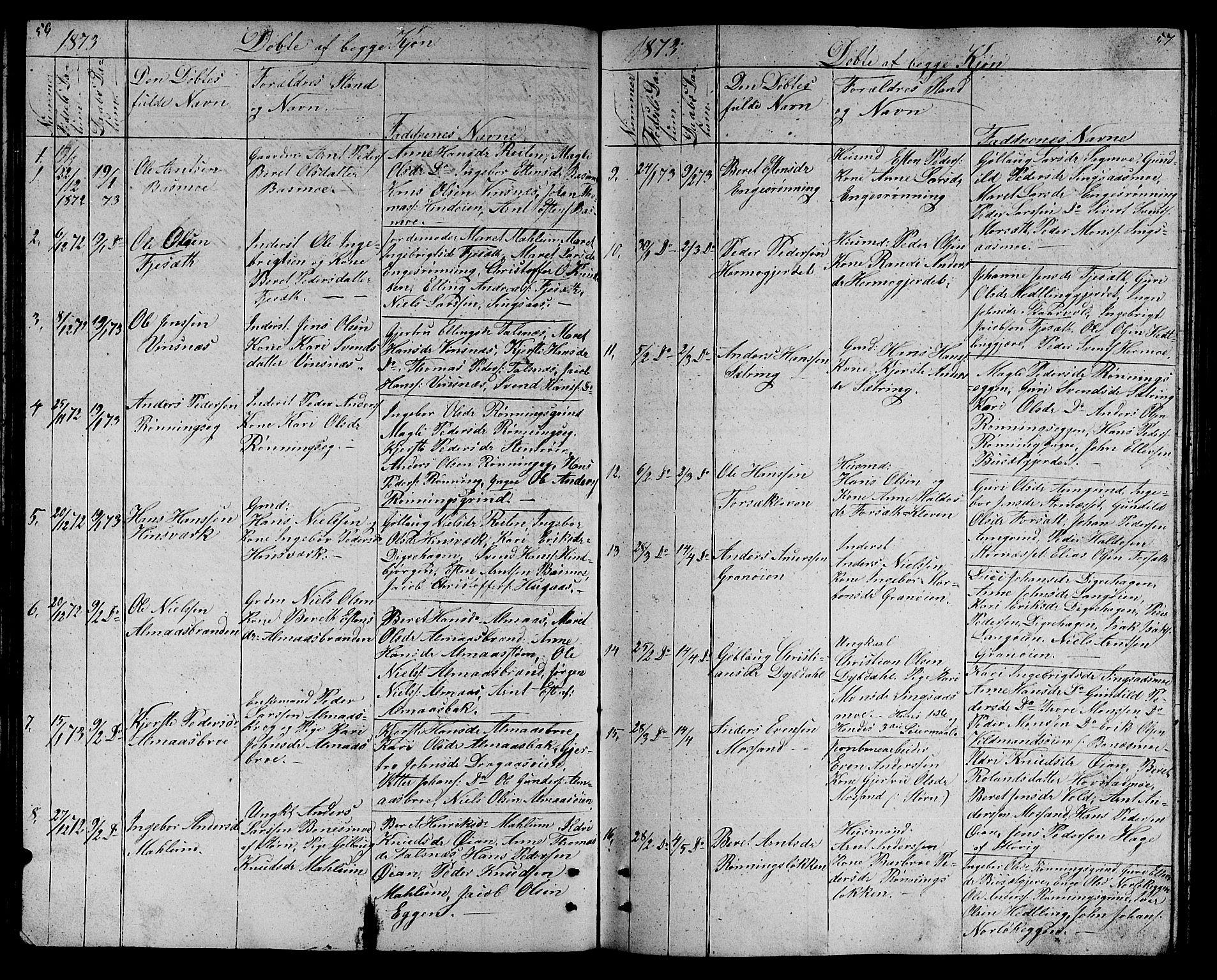 SAT, Ministerialprotokoller, klokkerbøker og fødselsregistre - Sør-Trøndelag, 688/L1027: Klokkerbok nr. 688C02, 1861-1889, s. 56-57
