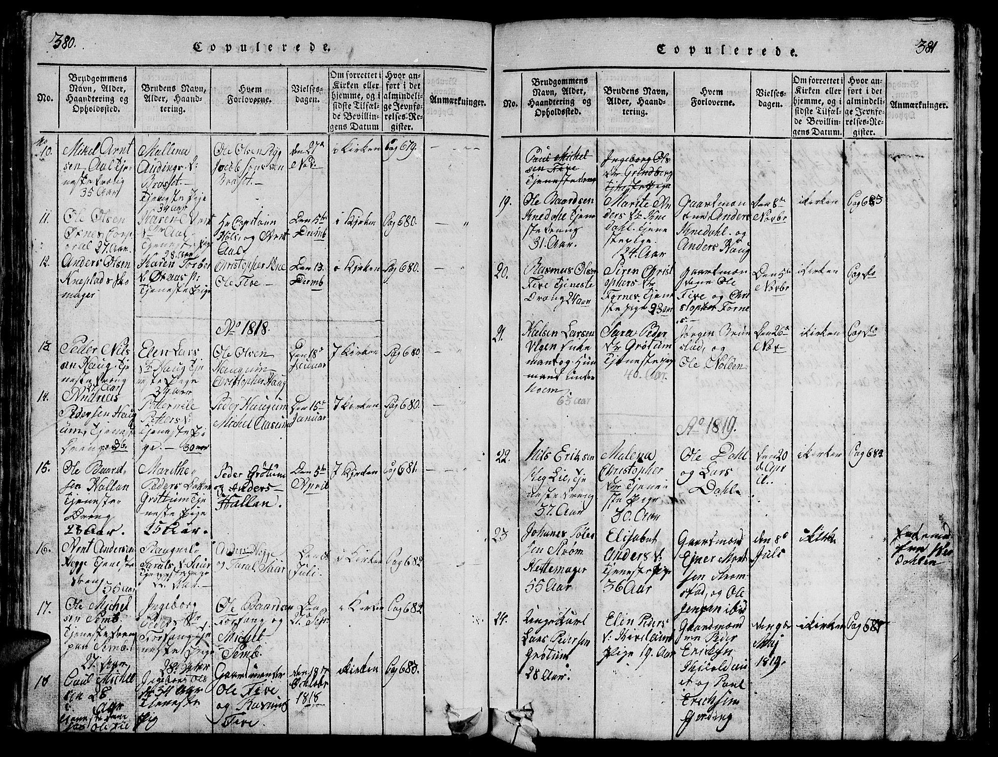 SAT, Ministerialprotokoller, klokkerbøker og fødselsregistre - Nord-Trøndelag, 747/L0459: Klokkerbok nr. 747C01, 1816-1842, s. 380-381