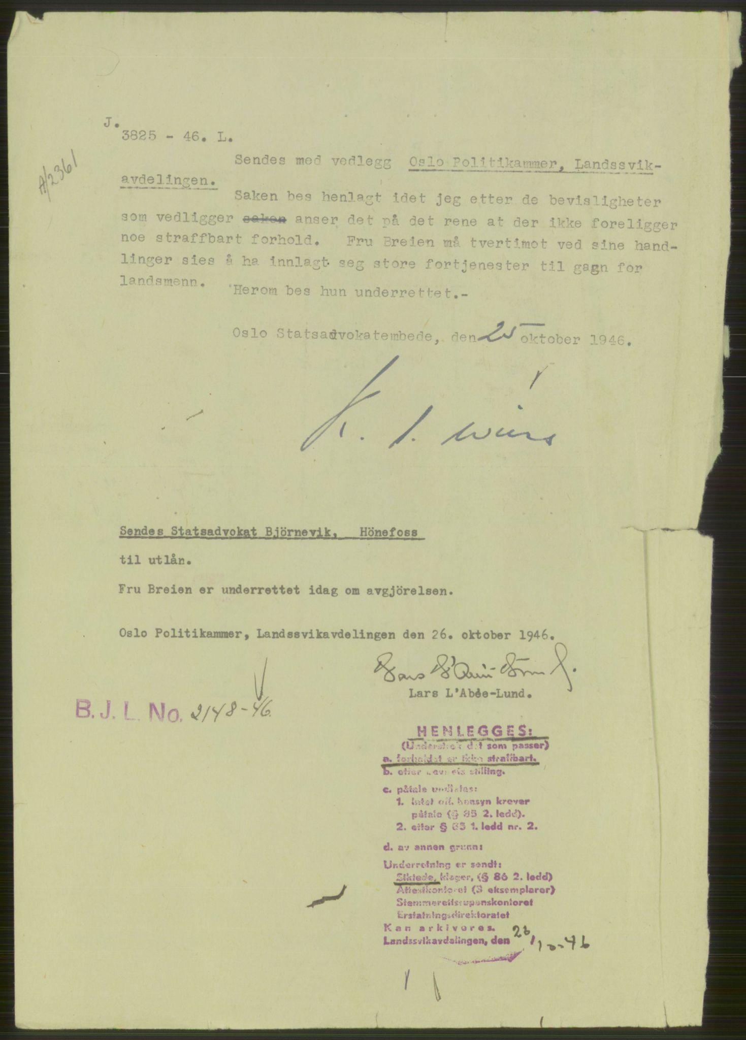 RA, Landssvikarkivet, Oslo politikammer, D/Dg/L0267: Henlagt hnr. 3658, 1945-1946, s. 16