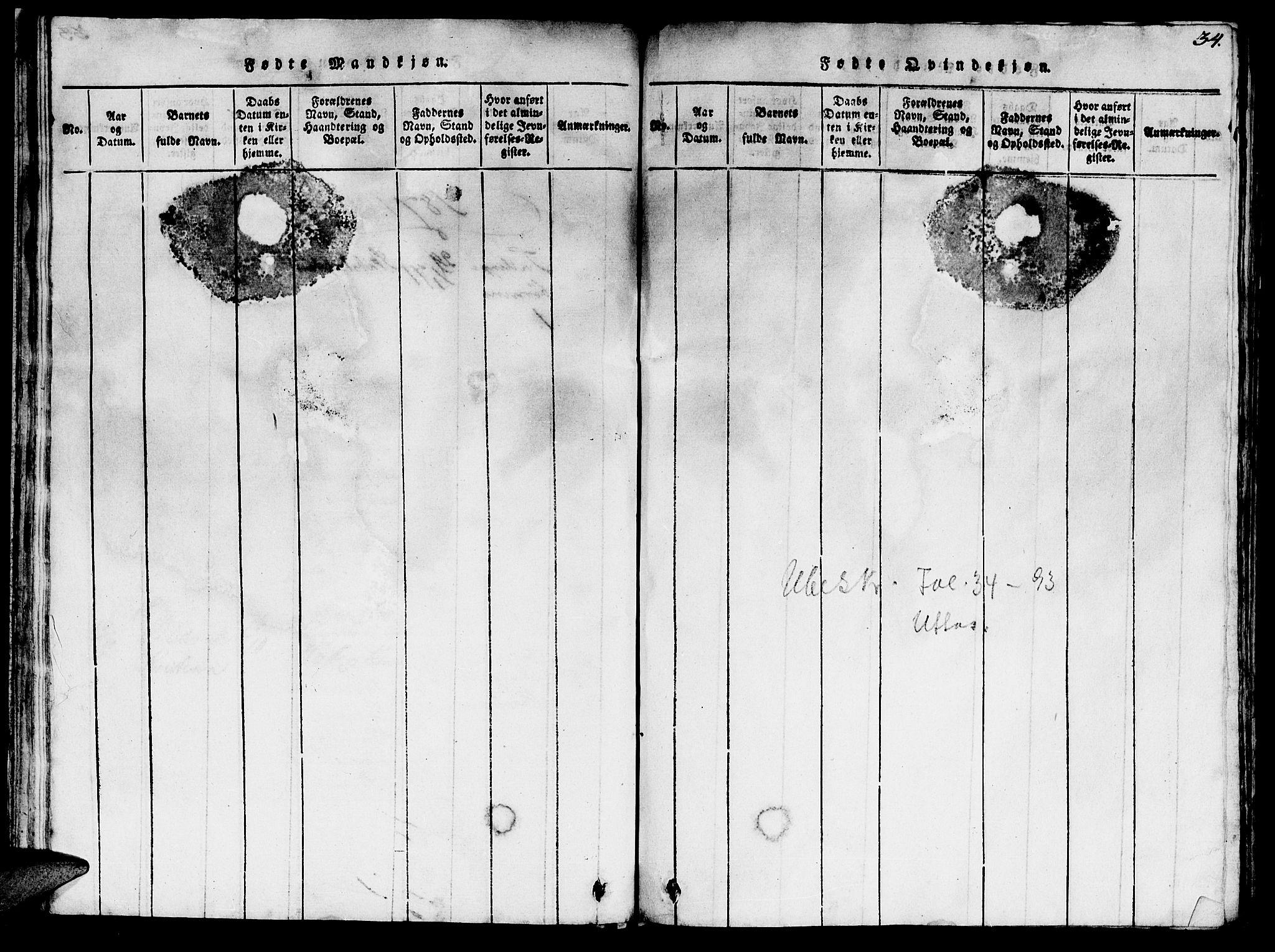 SAT, Ministerialprotokoller, klokkerbøker og fødselsregistre - Sør-Trøndelag, 623/L0478: Klokkerbok nr. 623C01, 1815-1873, s. 34