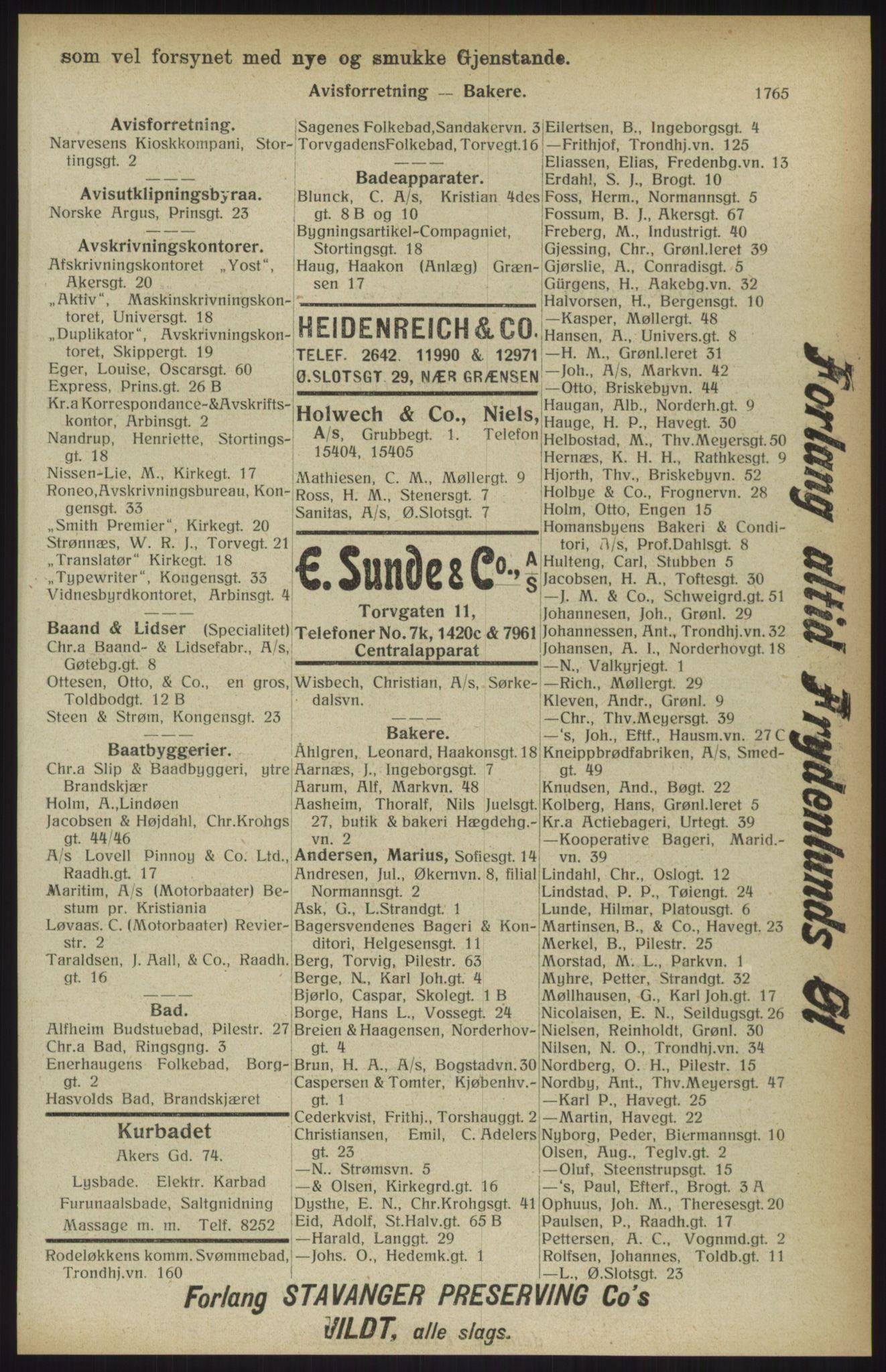 RA, Kristiania adressebok (publikasjon)*, 1914, s. 1765