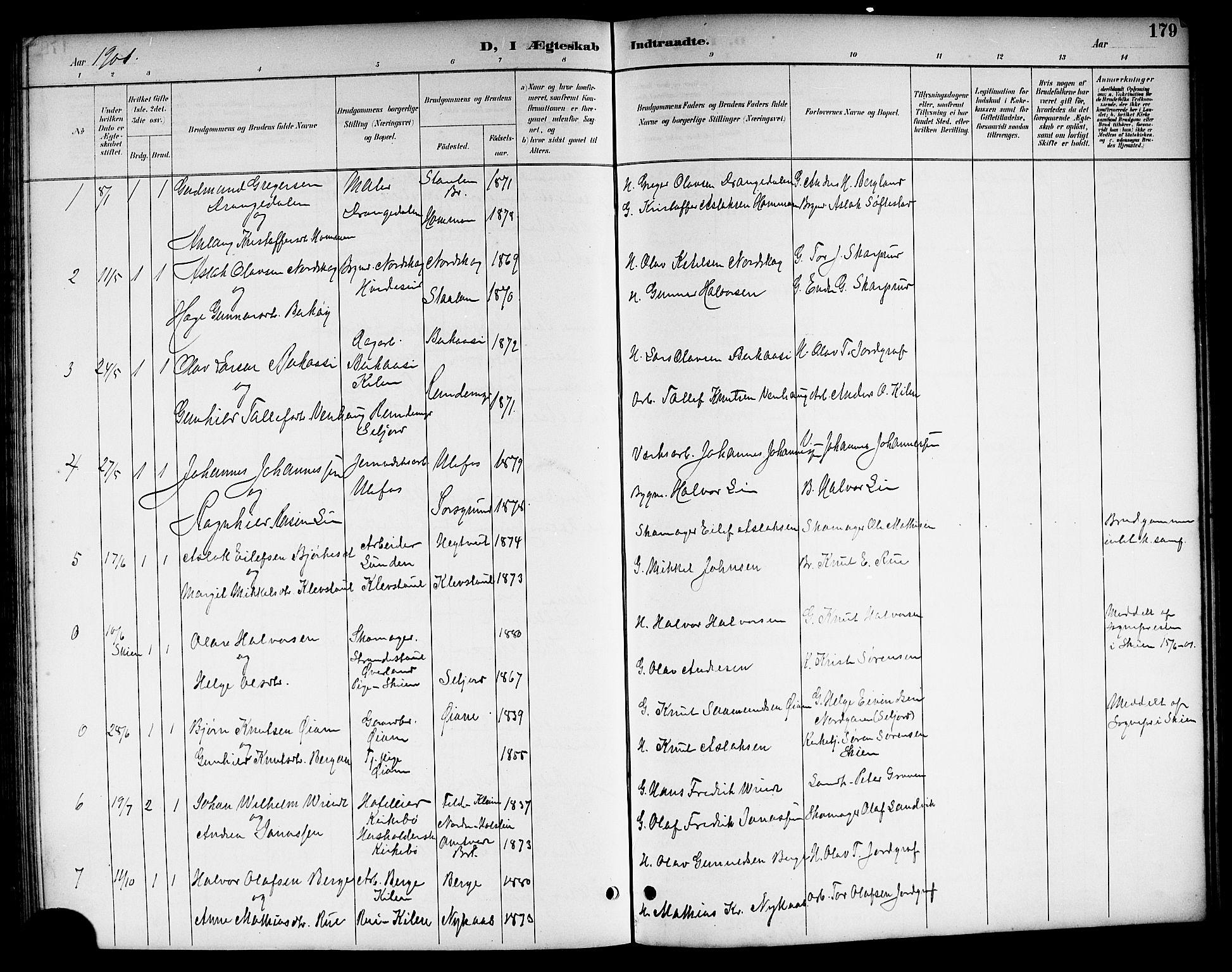 SAKO, Kviteseid kirkebøker, G/Ga/L0002: Klokkerbok nr. I 2, 1893-1918, s. 179
