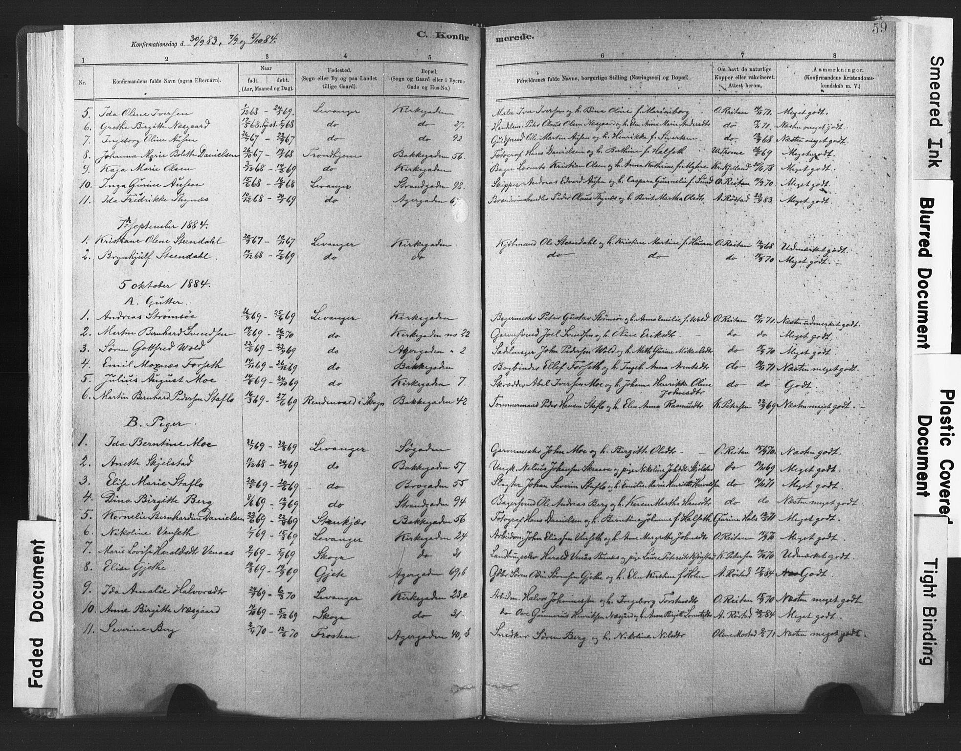 SAT, Ministerialprotokoller, klokkerbøker og fødselsregistre - Nord-Trøndelag, 720/L0189: Ministerialbok nr. 720A05, 1880-1911, s. 59
