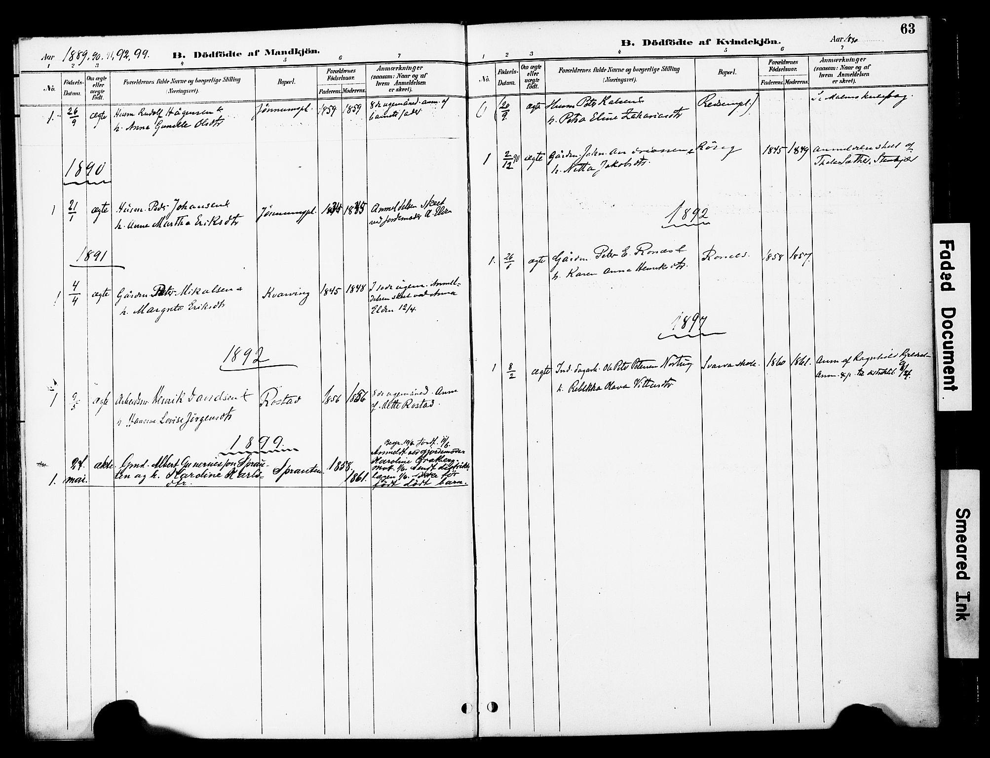 SAT, Ministerialprotokoller, klokkerbøker og fødselsregistre - Nord-Trøndelag, 741/L0396: Ministerialbok nr. 741A10, 1889-1901, s. 63