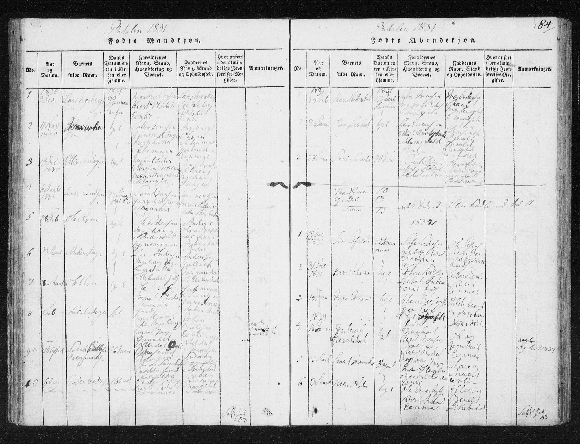 SAT, Ministerialprotokoller, klokkerbøker og fødselsregistre - Sør-Trøndelag, 687/L0996: Ministerialbok nr. 687A04, 1816-1842, s. 84
