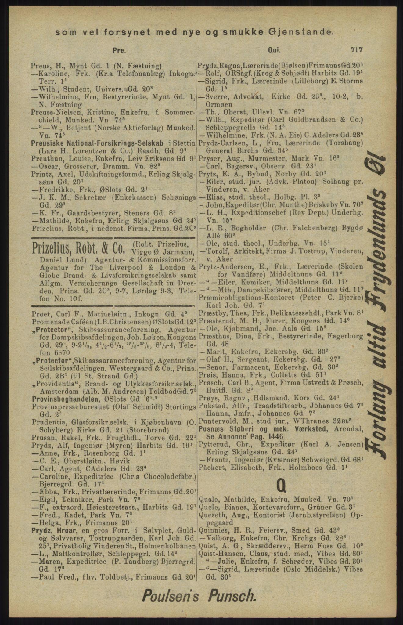 RA, Kristiania adressebok (publikasjon)*, 1904, s. 717