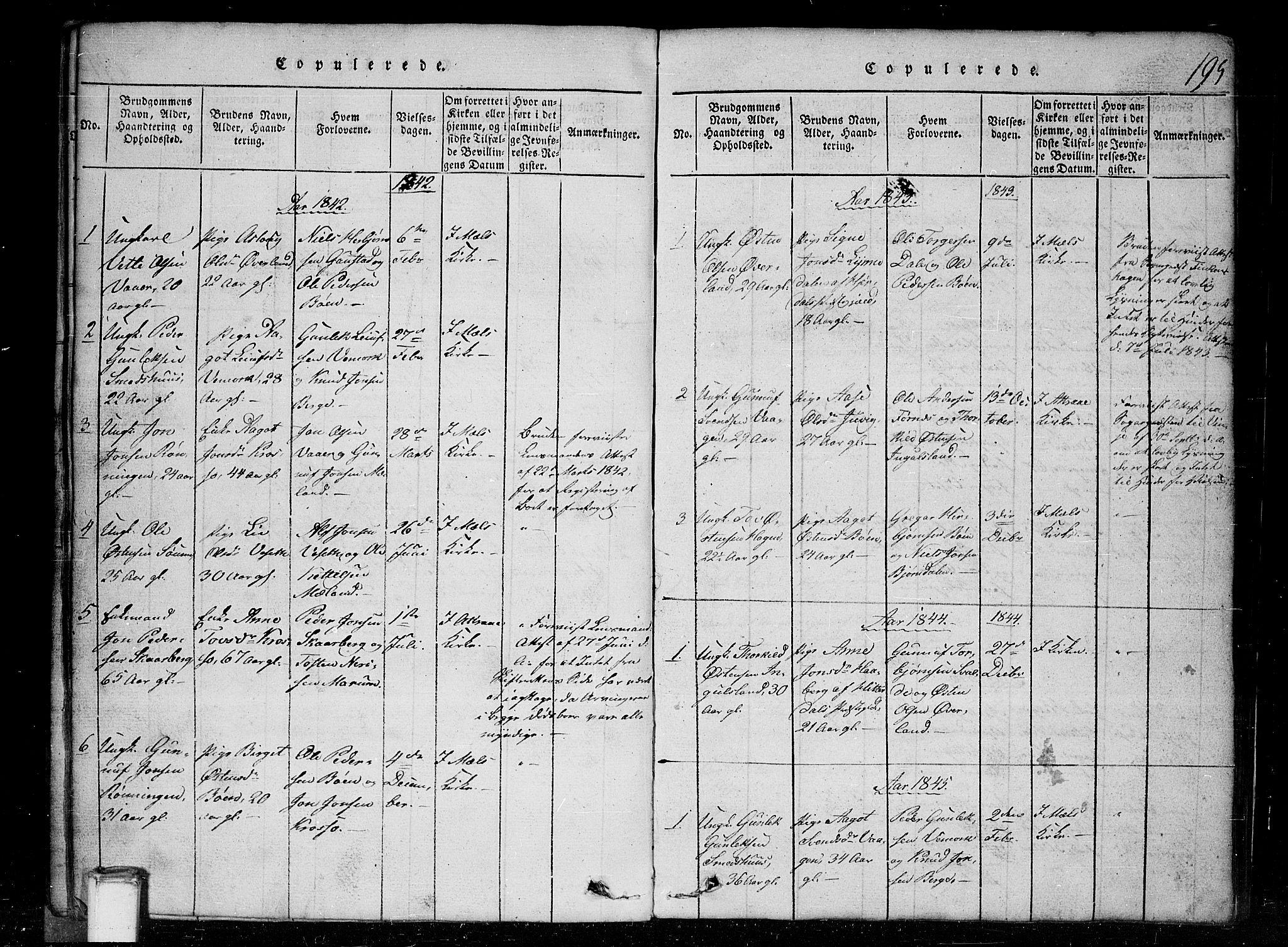 SAKO, Tinn kirkebøker, G/Gc/L0001: Klokkerbok nr. III 1, 1815-1879, s. 195