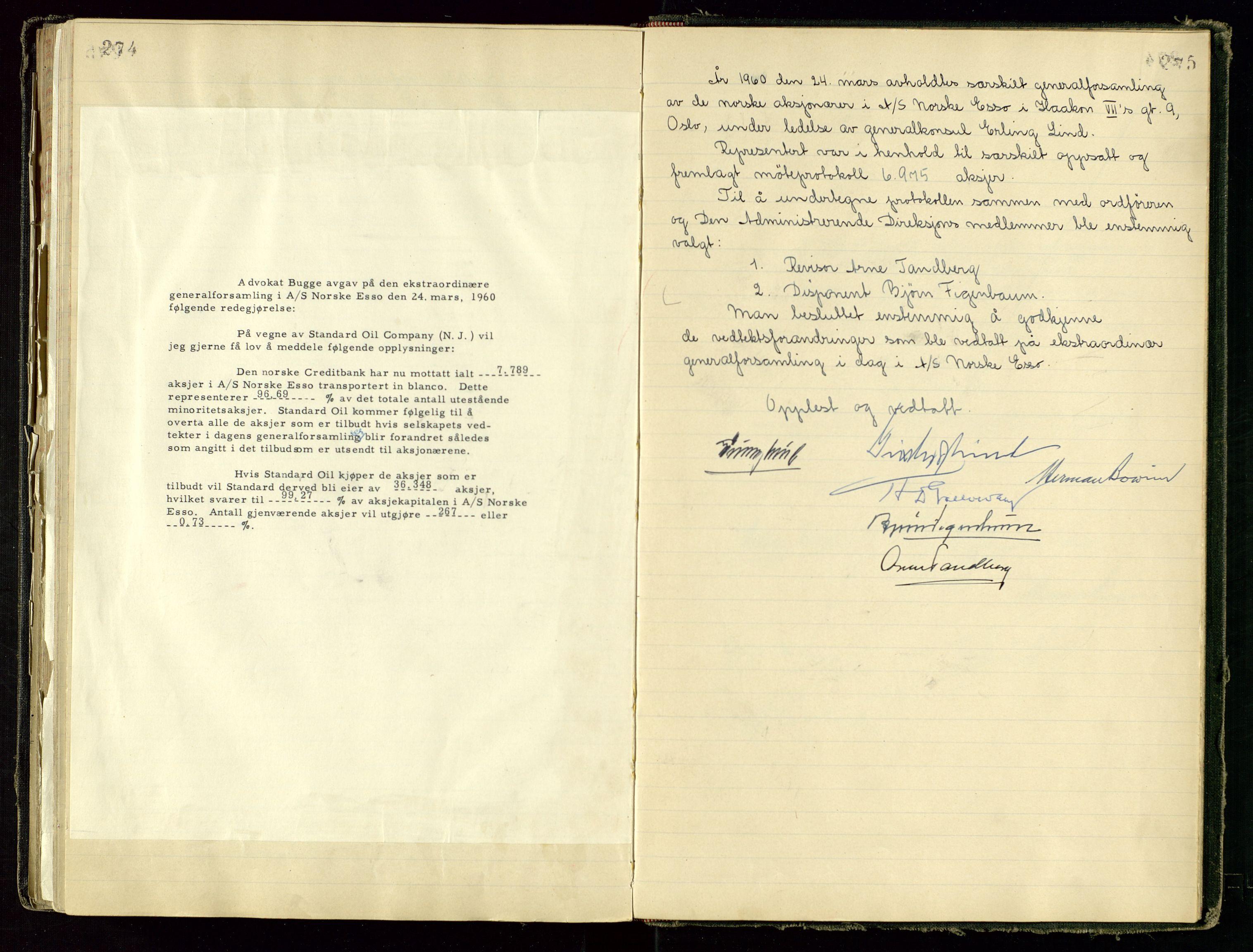 SAST, PA 1534 - Østlandske Petroleumscompagni A/S, A/Aa/L0001: Generalforsamlinger og direksjonsprotokoller., 1892-1960, s. 274-275