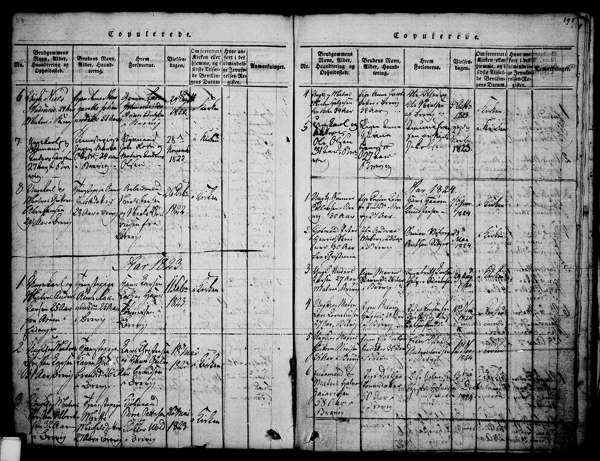 SAKO, Brevik kirkebøker, F/Fa/L0004: Ministerialbok nr. 4, 1814-1846, s. 198