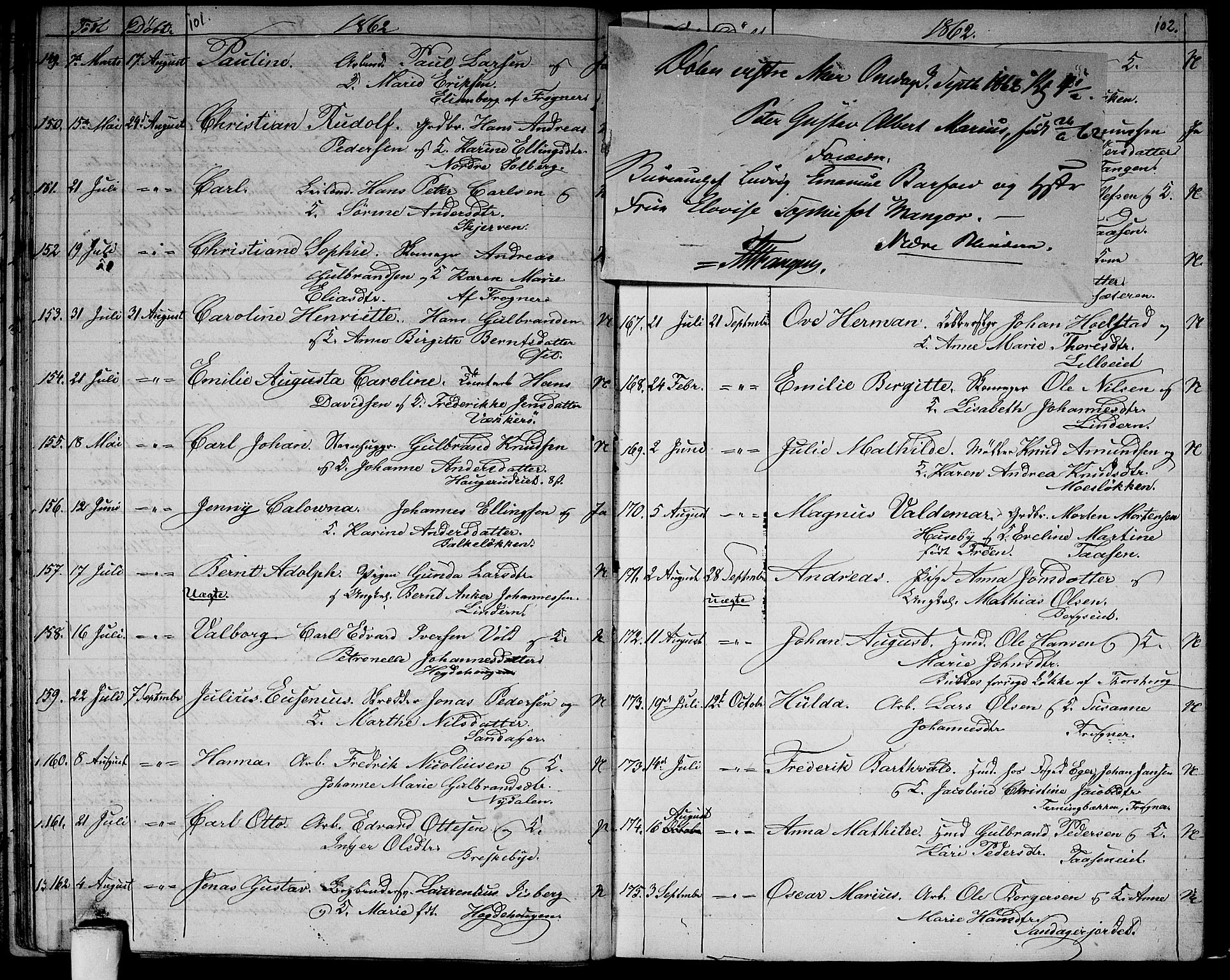 SAO, Vestre Aker prestekontor Kirkebøker, G/Ga/L0001: Klokkerbok nr. I 1, 1859-1871, s. 101-102