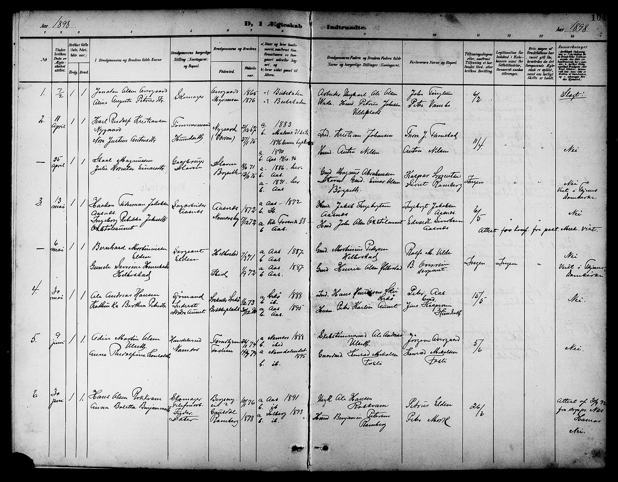 SAT, Ministerialprotokoller, klokkerbøker og fødselsregistre - Nord-Trøndelag, 742/L0412: Klokkerbok nr. 742C03, 1898-1910, s. 104