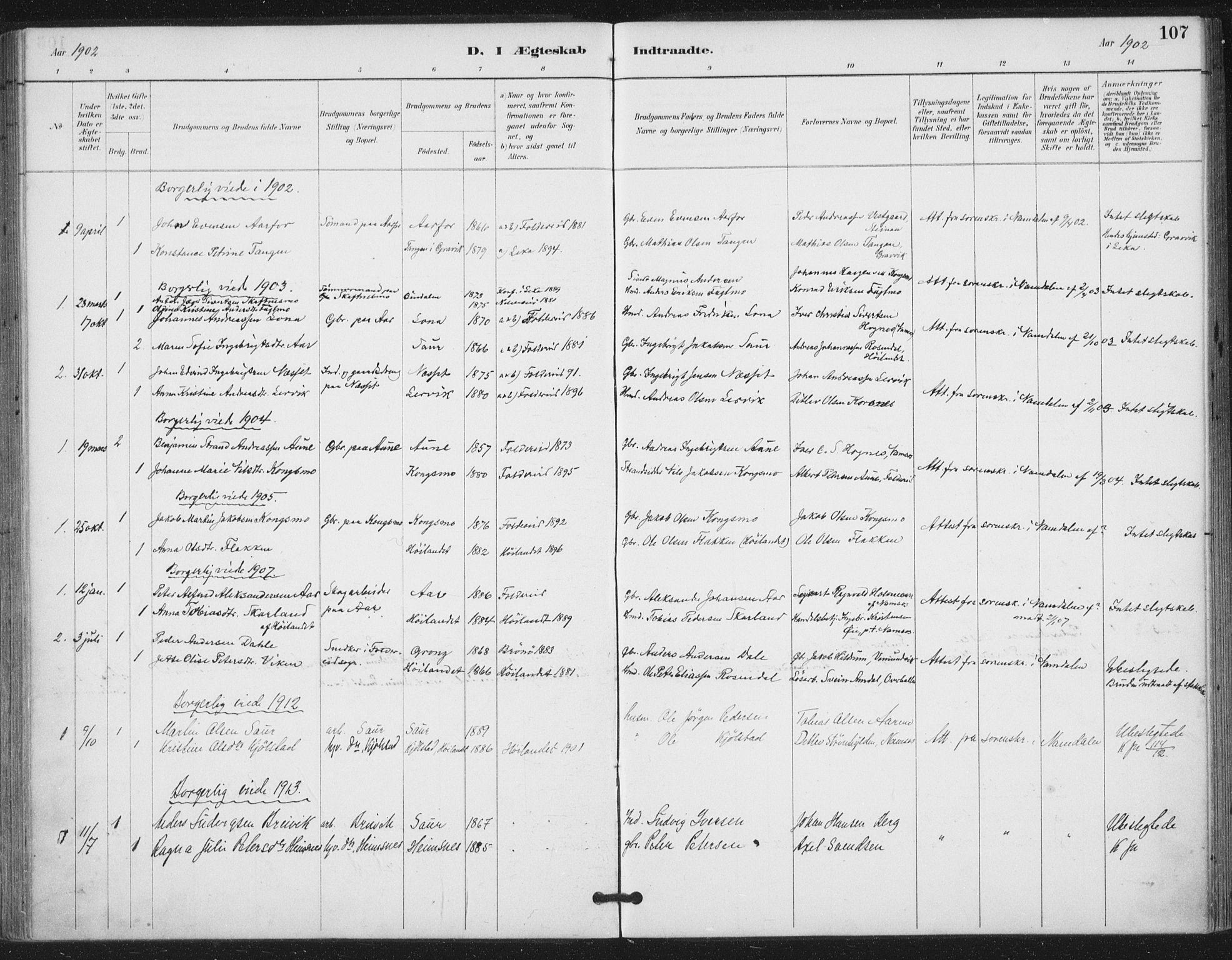 SAT, Ministerialprotokoller, klokkerbøker og fødselsregistre - Nord-Trøndelag, 783/L0660: Ministerialbok nr. 783A02, 1886-1918, s. 107