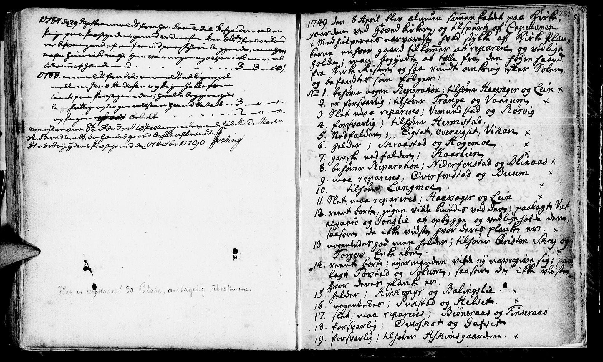 SAT, Ministerialprotokoller, klokkerbøker og fødselsregistre - Sør-Trøndelag, 646/L0604: Ministerialbok nr. 646A02, 1735-1750, s. 230-231