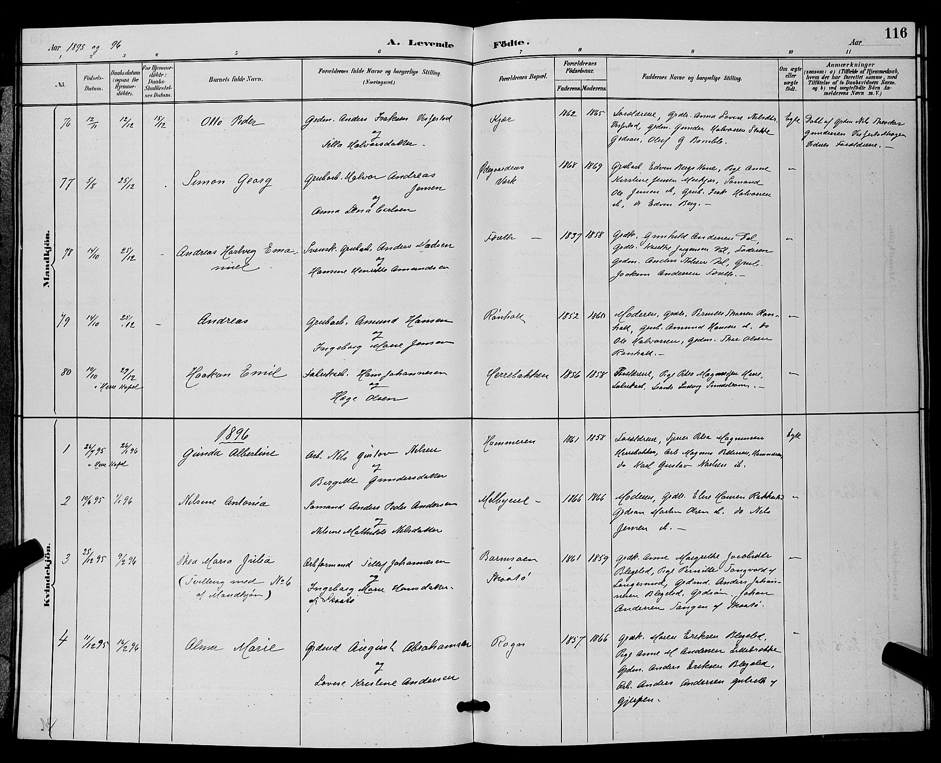 SAKO, Bamble kirkebøker, G/Ga/L0009: Klokkerbok nr. I 9, 1888-1900, s. 116