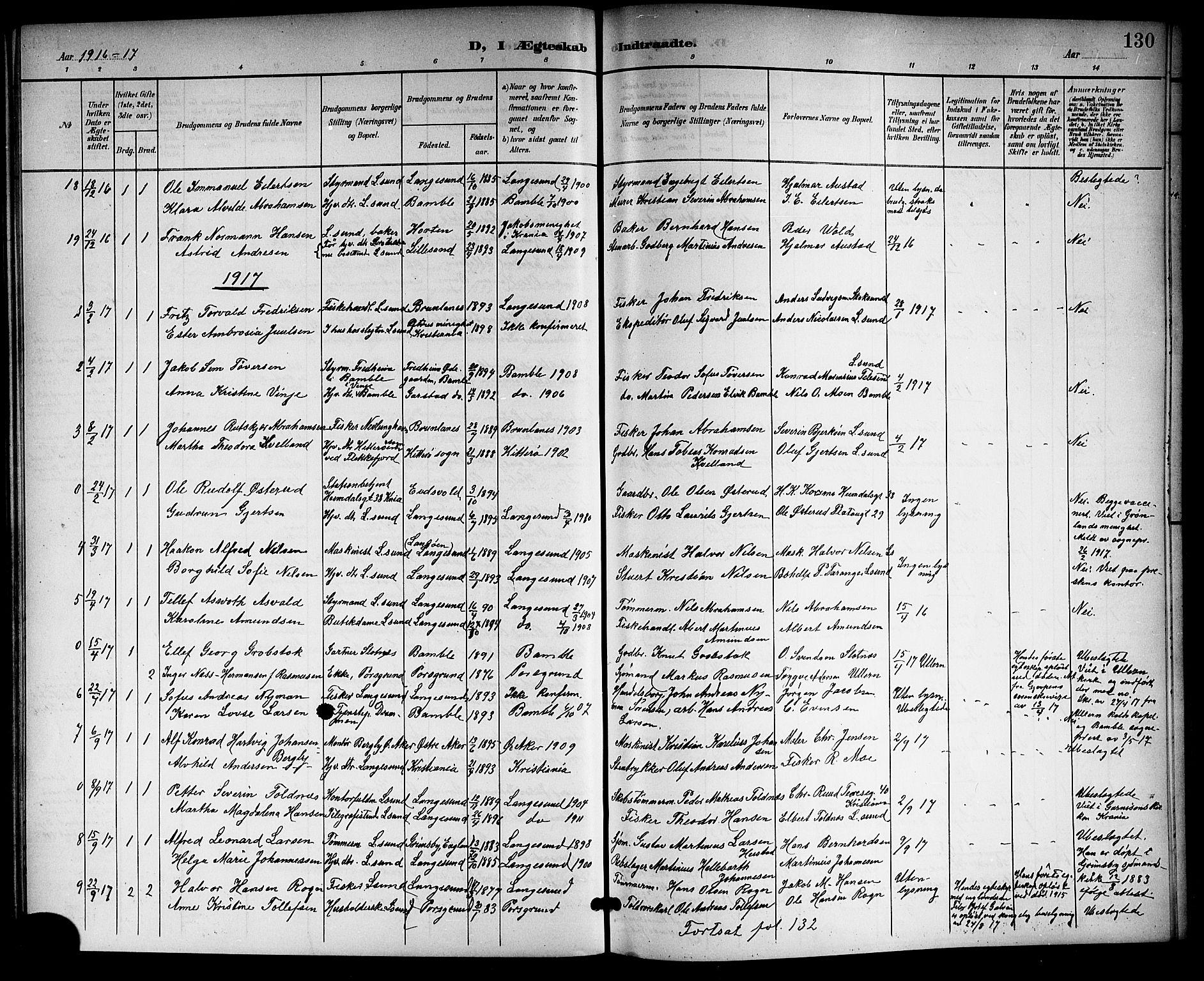 SAKO, Langesund kirkebøker, G/Ga/L0006: Klokkerbok nr. 6, 1899-1918, s. 130