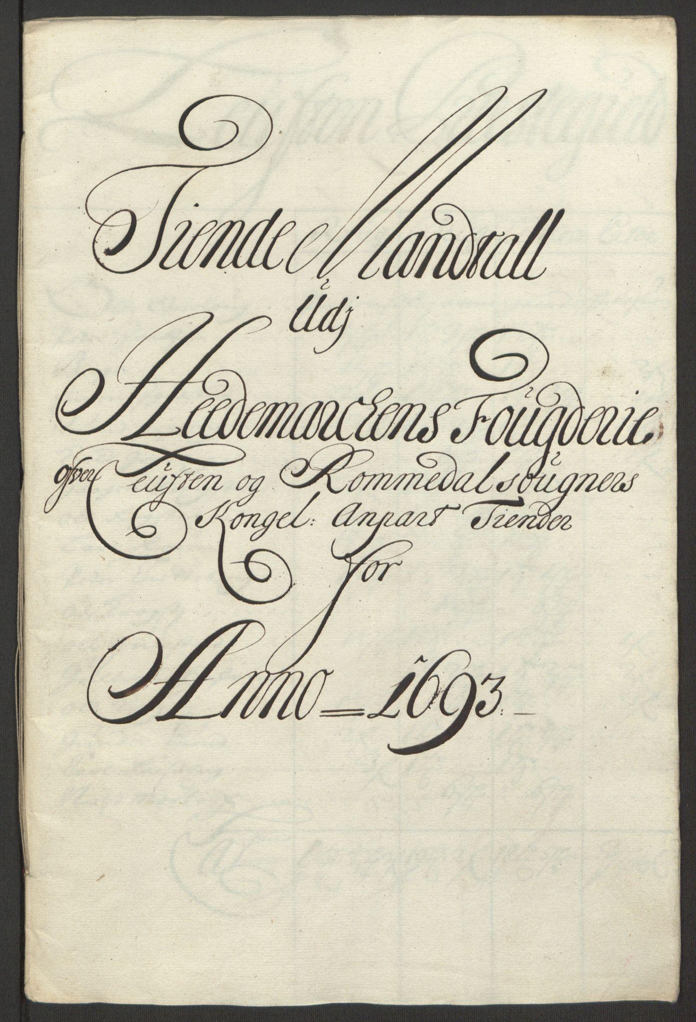 RA, Rentekammeret inntil 1814, Reviderte regnskaper, Fogderegnskap, R16/L1034: Fogderegnskap Hedmark, 1693, s. 47