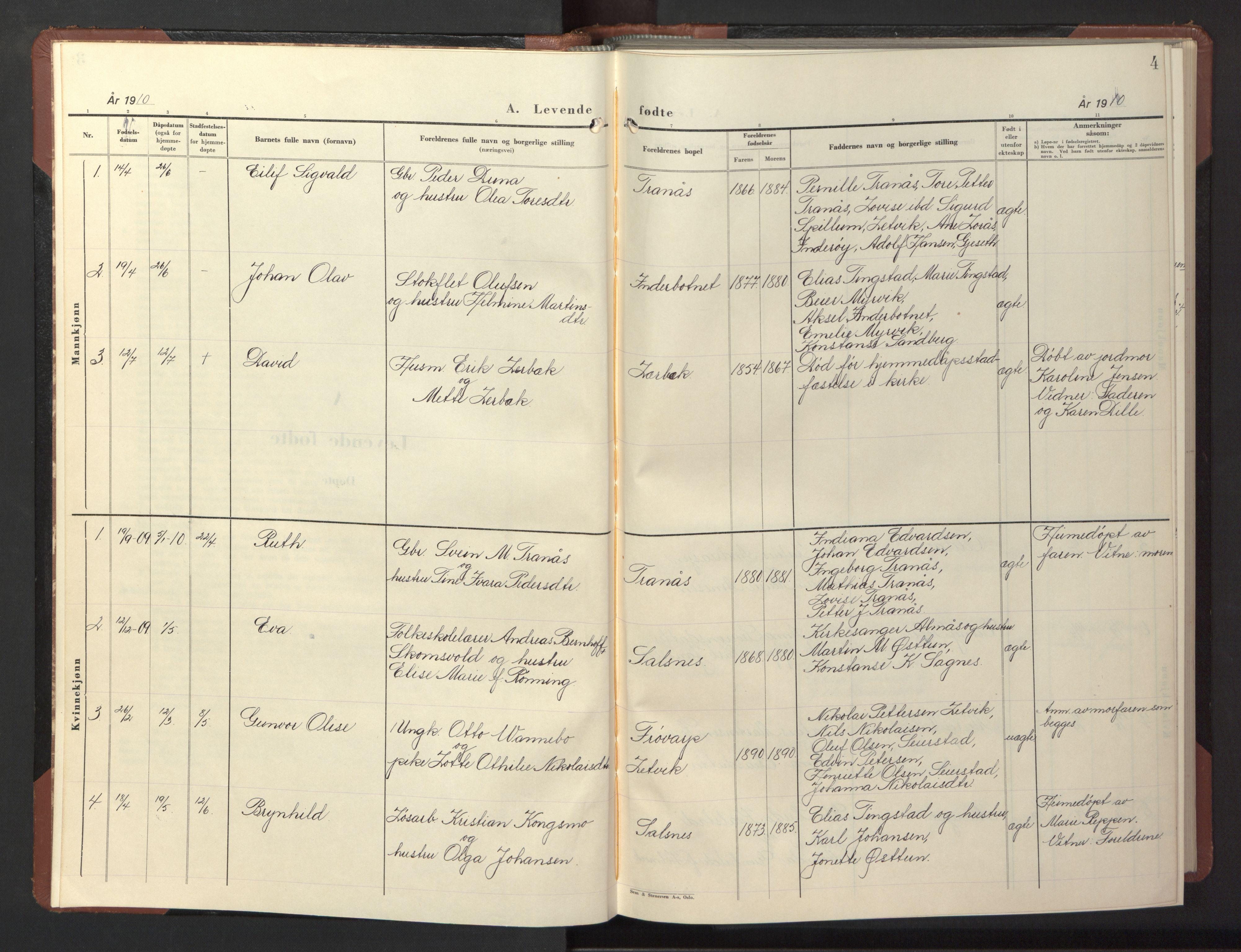 SAT, Ministerialprotokoller, klokkerbøker og fødselsregistre - Nord-Trøndelag, 773/L0625: Klokkerbok nr. 773C01, 1910-1952, s. 4