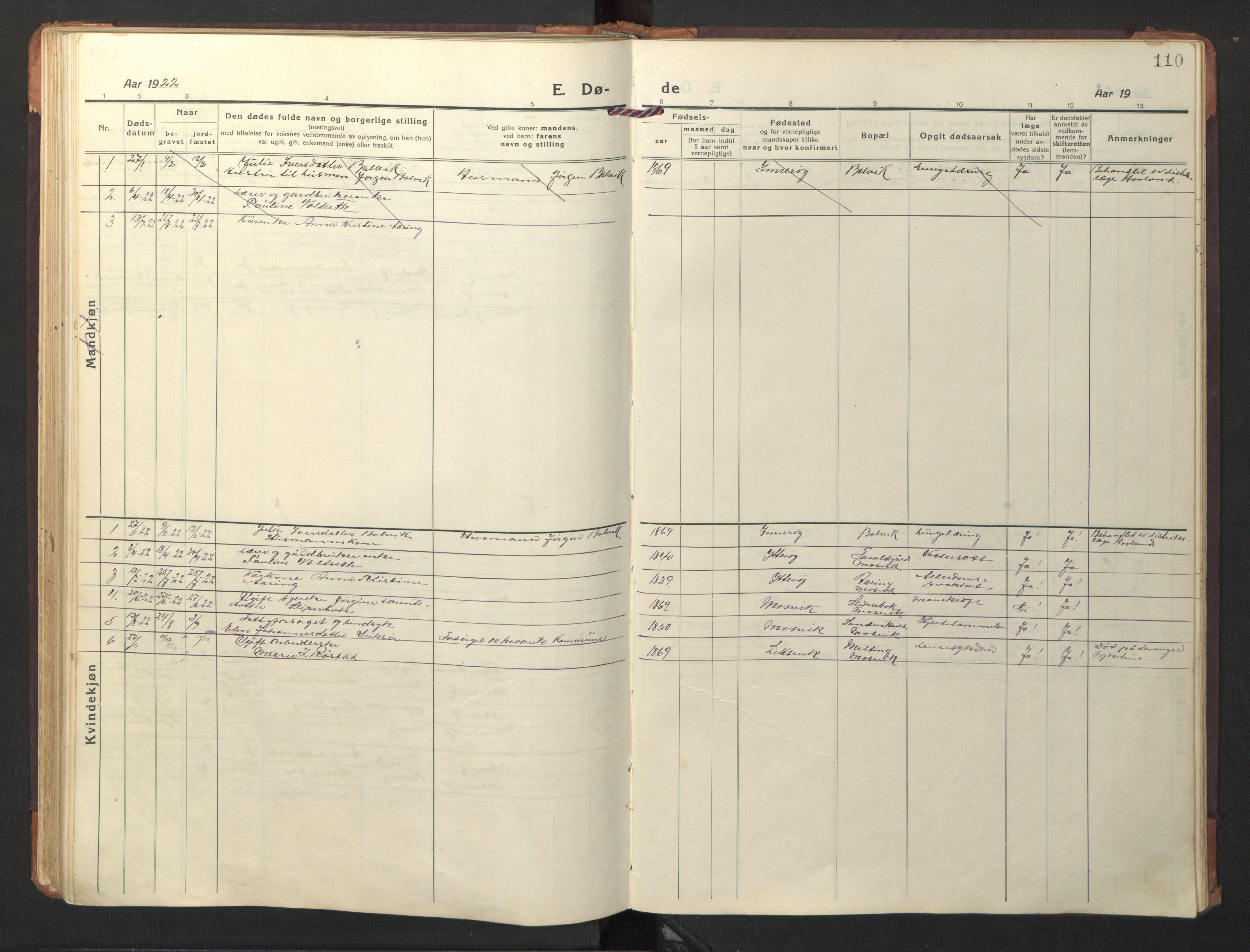 SAT, Ministerialprotokoller, klokkerbøker og fødselsregistre - Nord-Trøndelag, 733/L0328: Klokkerbok nr. 733C03, 1919-1966, s. 110