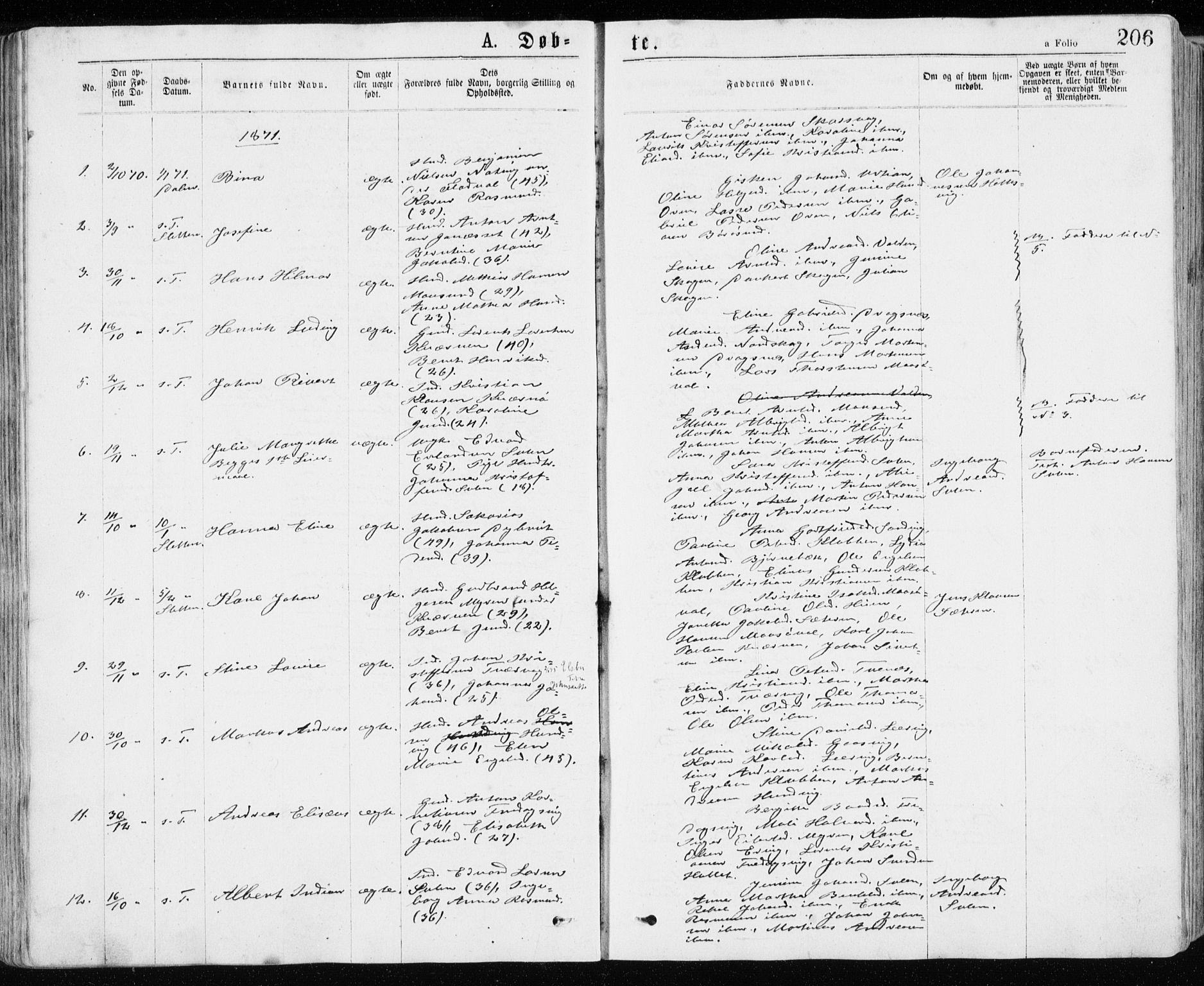 SAT, Ministerialprotokoller, klokkerbøker og fødselsregistre - Sør-Trøndelag, 640/L0576: Ministerialbok nr. 640A01, 1846-1876, s. 206