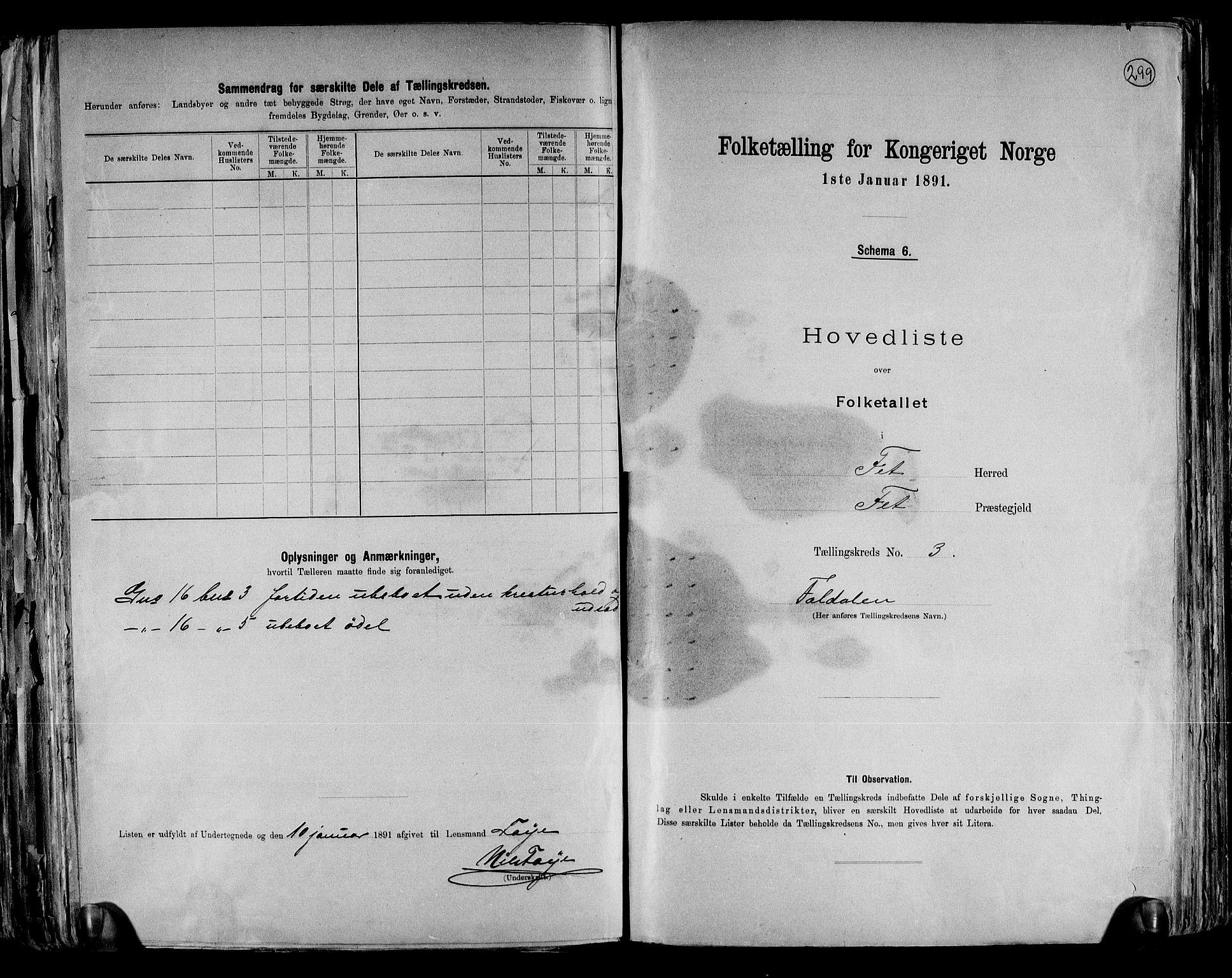 RA, Folketelling 1891 for 0227 Fet herred, 1891, s. 8
