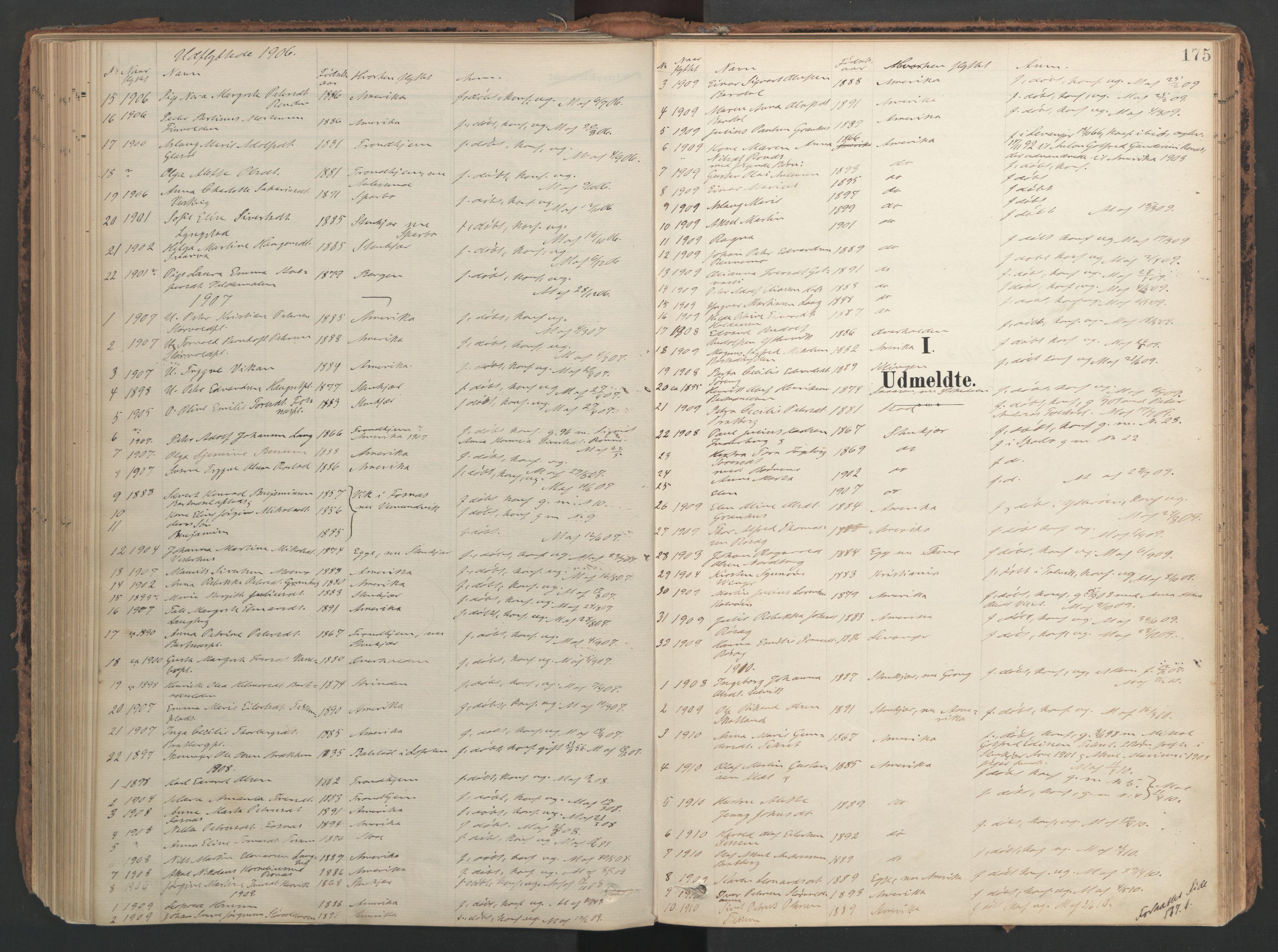 SAT, Ministerialprotokoller, klokkerbøker og fødselsregistre - Nord-Trøndelag, 741/L0397: Ministerialbok nr. 741A11, 1901-1911, s. 175