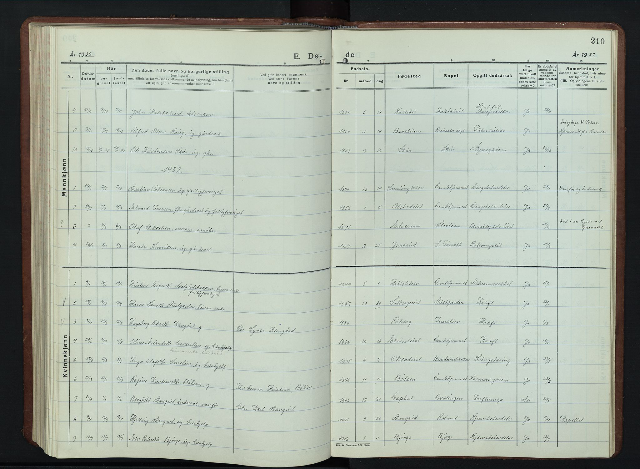 SAH, Vestre Gausdal prestekontor, Klokkerbok nr. 5, 1926-1955, s. 210