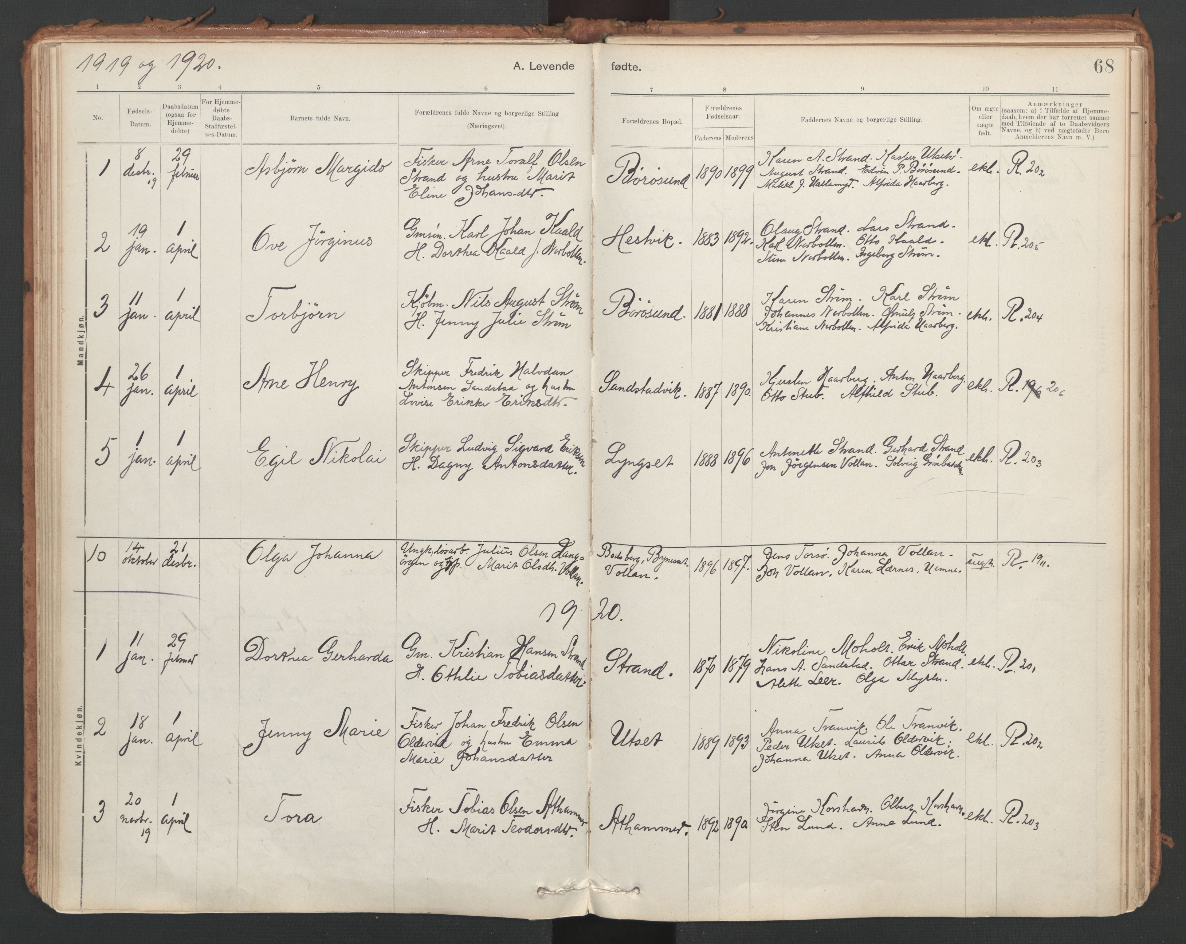 SAT, Ministerialprotokoller, klokkerbøker og fødselsregistre - Sør-Trøndelag, 639/L0572: Ministerialbok nr. 639A01, 1890-1920, s. 68