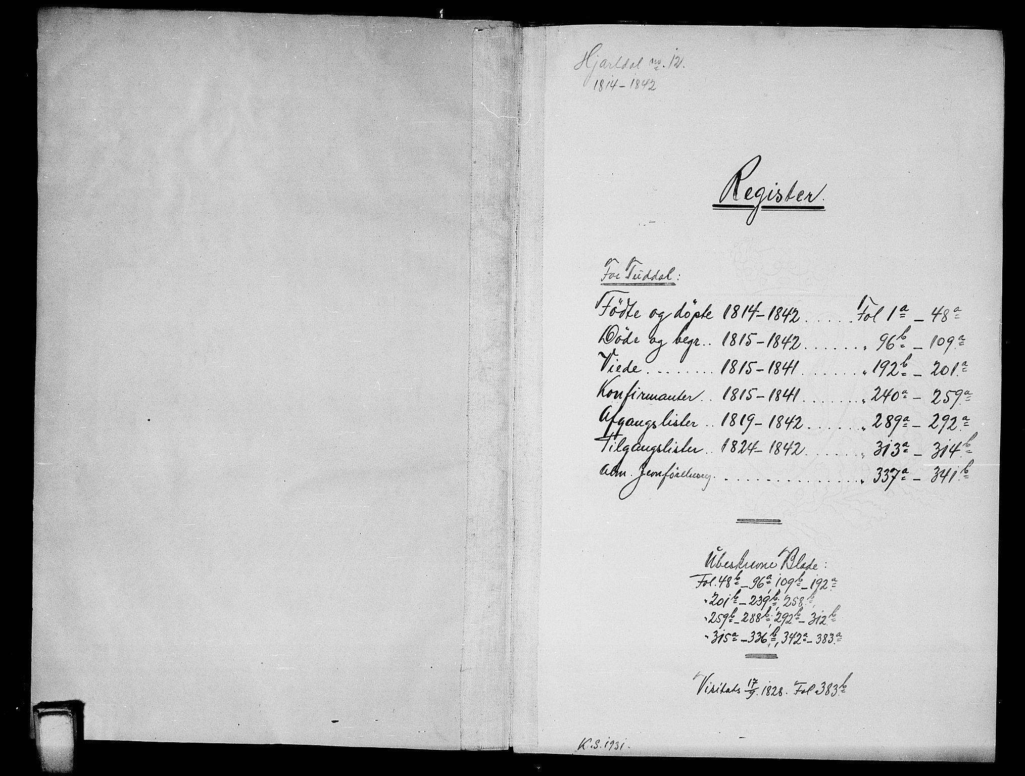 SAKO, Hjartdal kirkebøker, G/Gc/L0001: Klokkerbok nr. III 1, 1815-1842