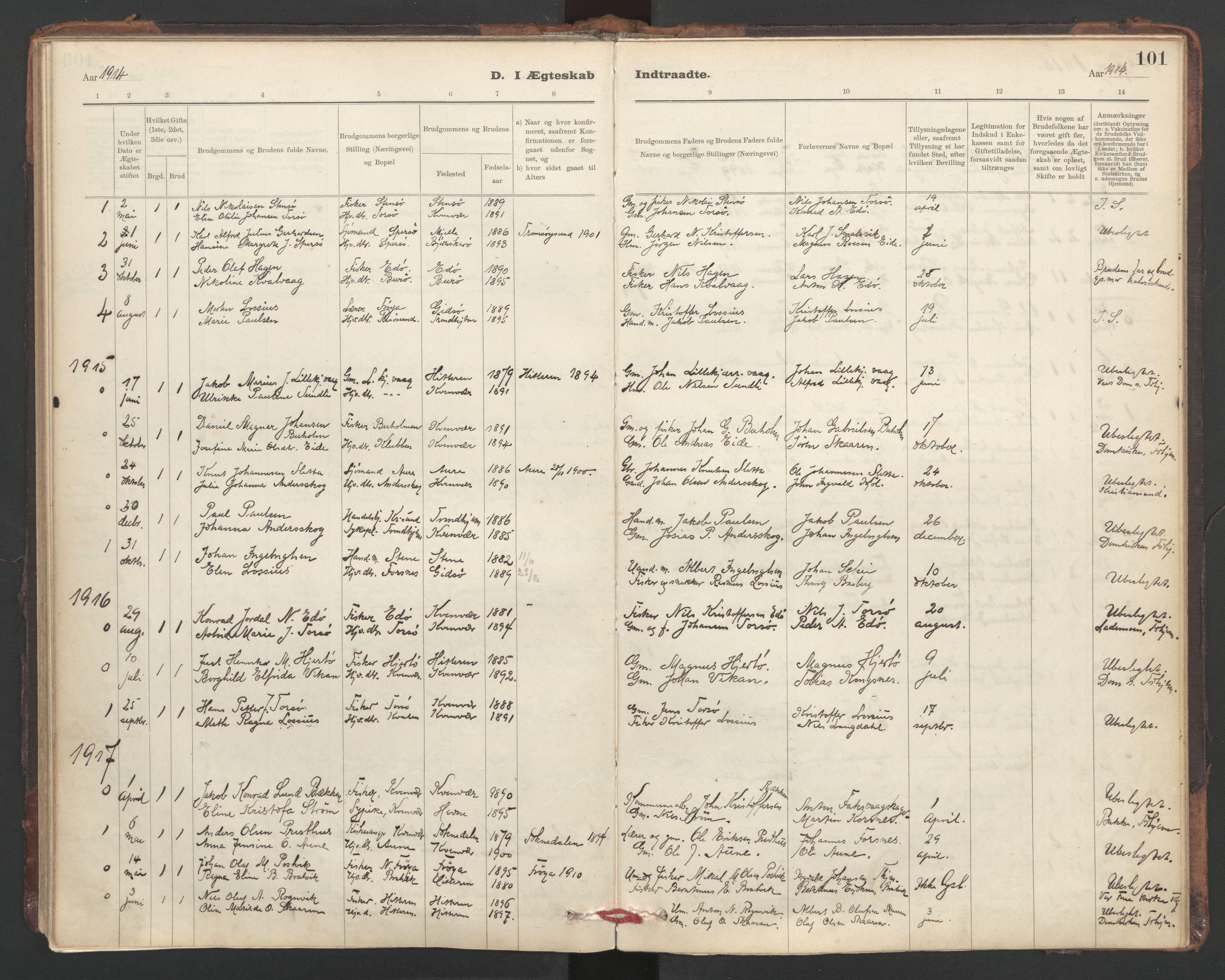 SAT, Ministerialprotokoller, klokkerbøker og fødselsregistre - Sør-Trøndelag, 635/L0552: Ministerialbok nr. 635A02, 1899-1919, s. 101