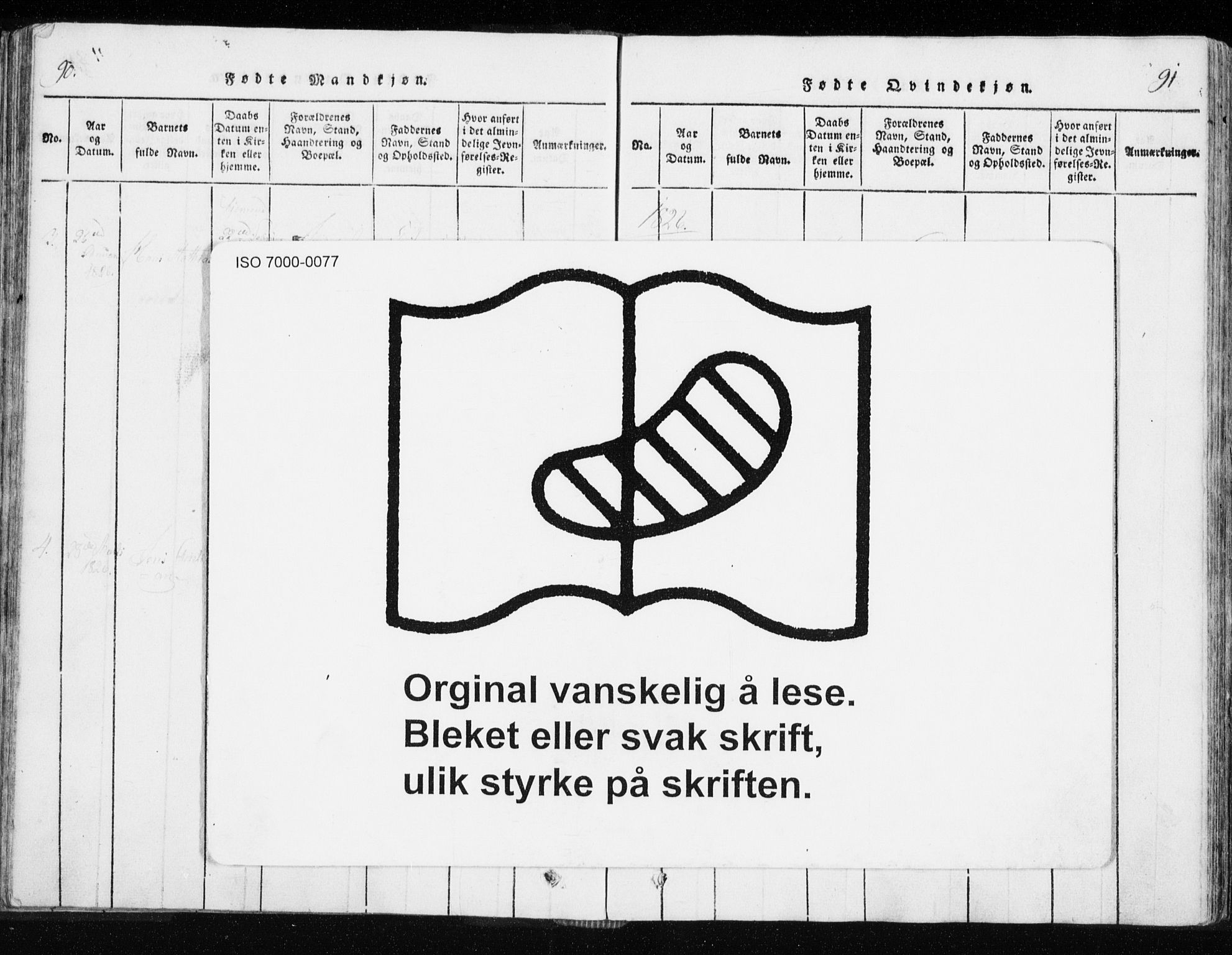 SATØ, Tranøy sokneprestkontor, I/Ia/Iaa/L0004kirke: Ministerialbok nr. 4, 1820-1829, s. 90-91