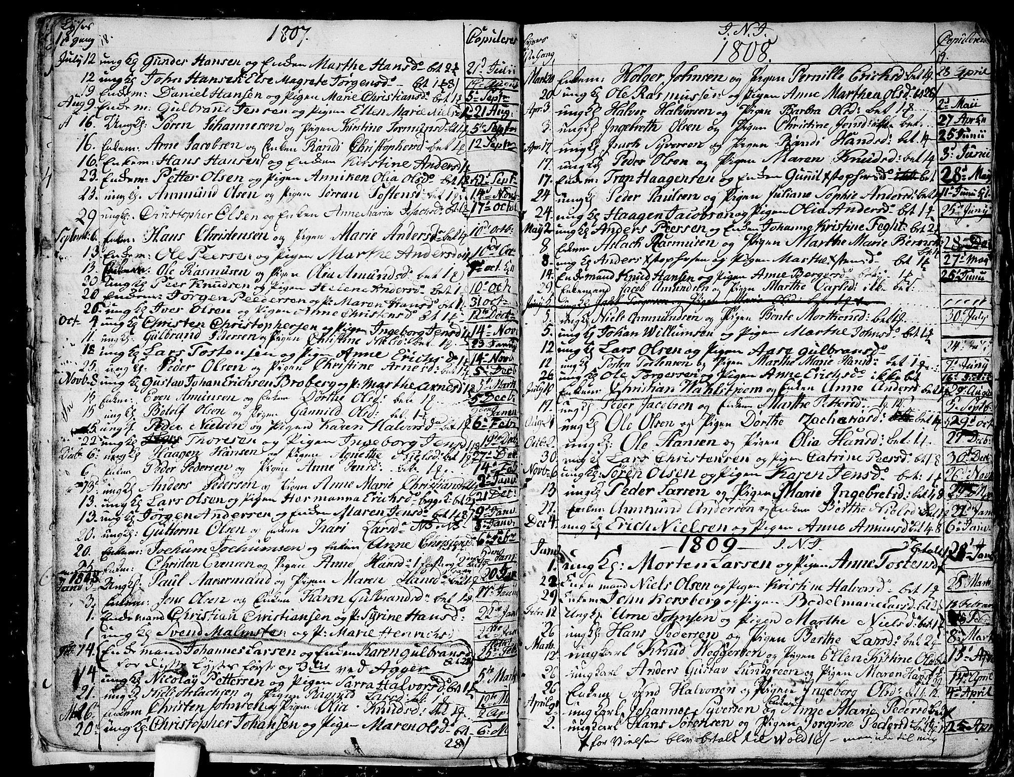 SAO, Aker prestekontor kirkebøker, G/L0001: Klokkerbok nr. 1, 1796-1826, s. 18-19