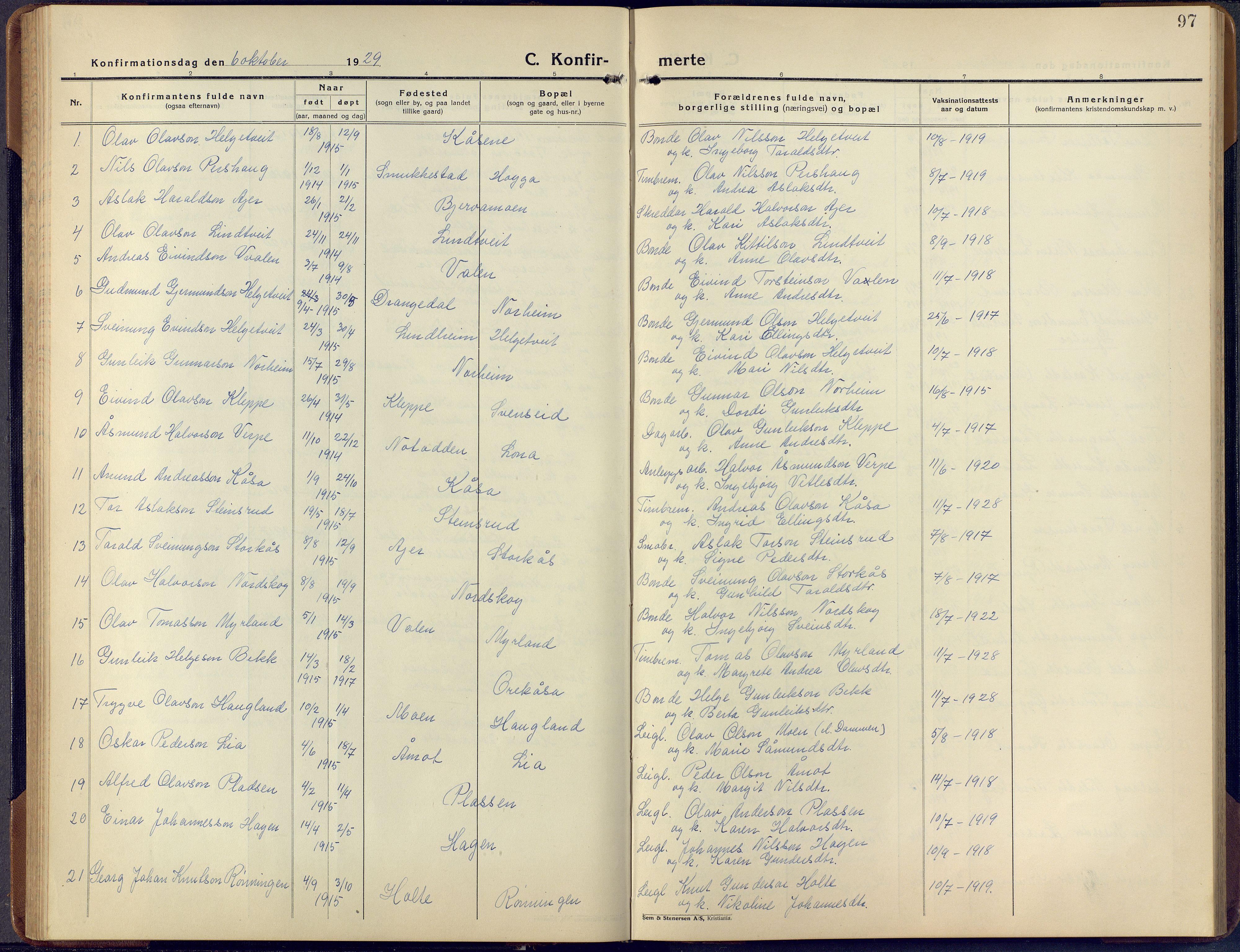 SAKO, Lunde kirkebøker, F/Fa/L0006: Ministerialbok nr. I 6, 1922-1940, s. 97