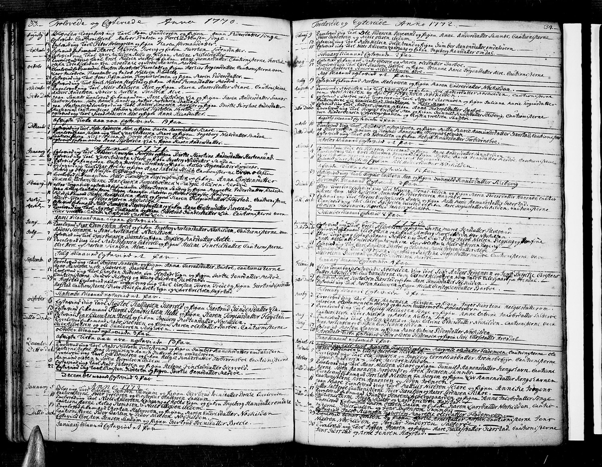 SAK, Tromøy sokneprestkontor, F/Fa/L0001: Ministerialbok nr. A 1, 1747-1793, s. 33-34