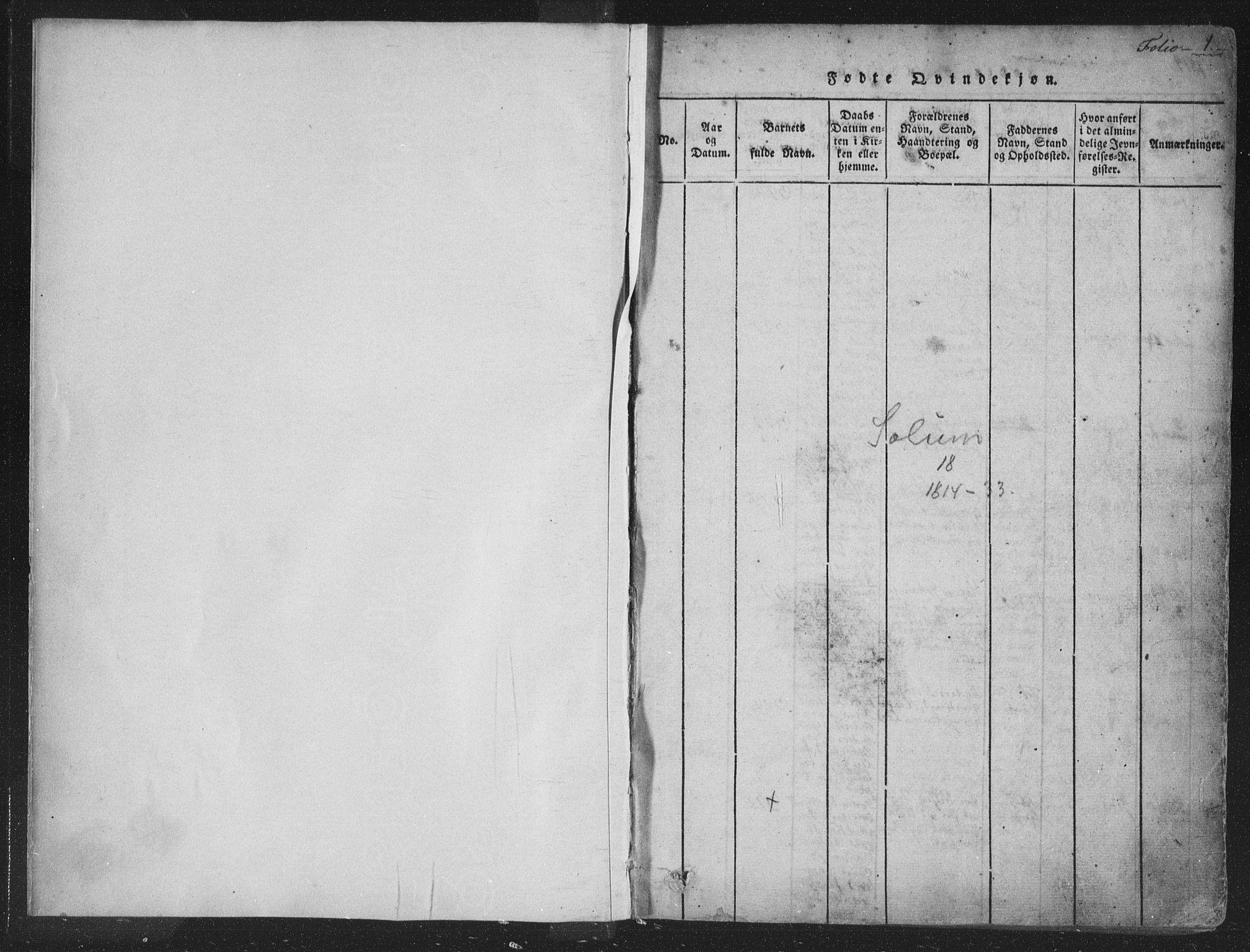 SAKO, Solum kirkebøker, F/Fa/L0004: Ministerialbok nr. I 4, 1814-1833, s. 1