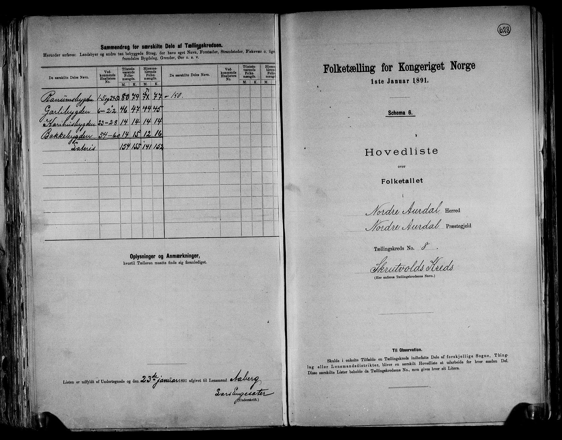 RA, Folketelling 1891 for 0542 Nord-Aurdal herred, 1891, s. 23