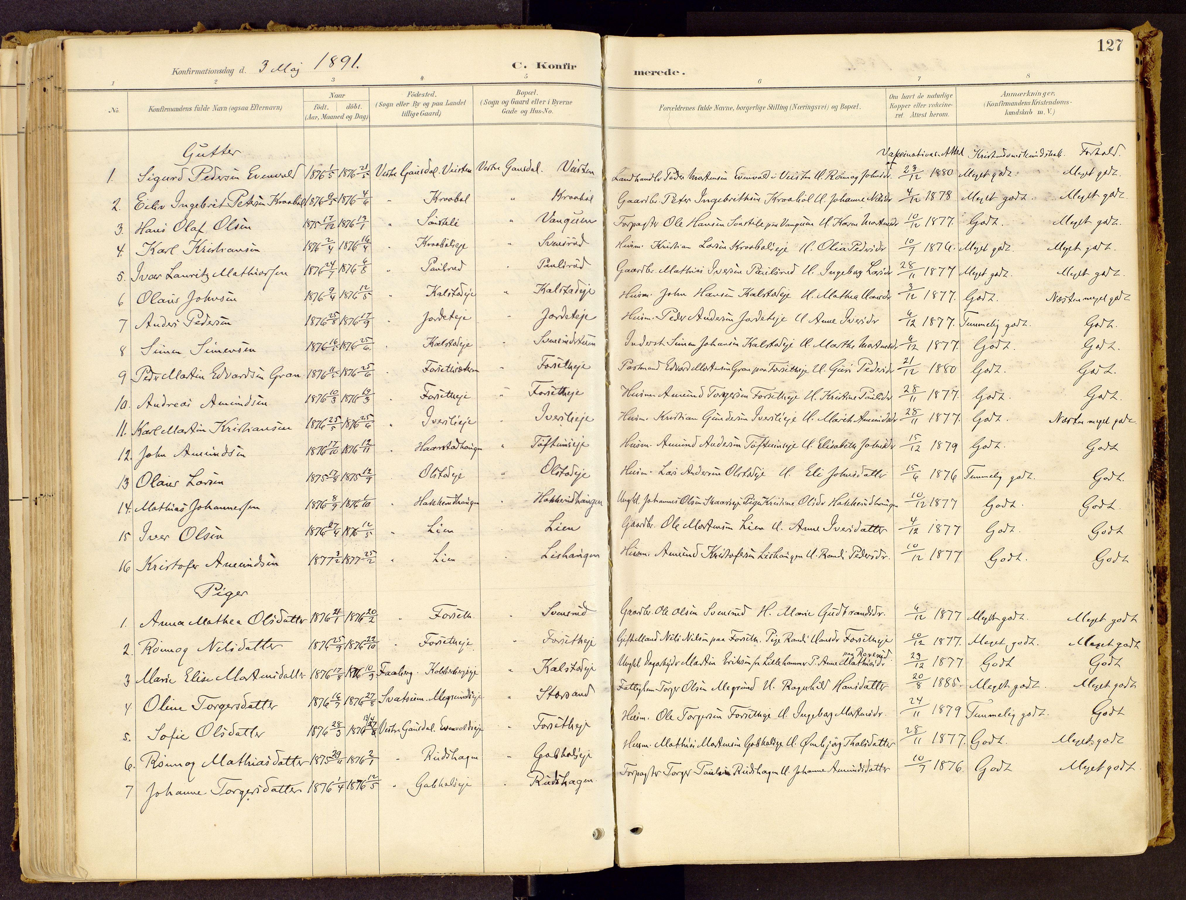 SAH, Vestre Gausdal prestekontor, Ministerialbok nr. 1, 1887-1914, s. 127