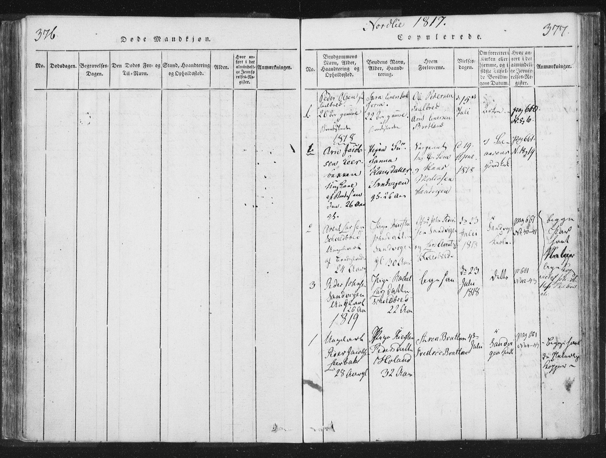 SAT, Ministerialprotokoller, klokkerbøker og fødselsregistre - Nord-Trøndelag, 755/L0491: Ministerialbok nr. 755A01 /1, 1817-1864, s. 376-377